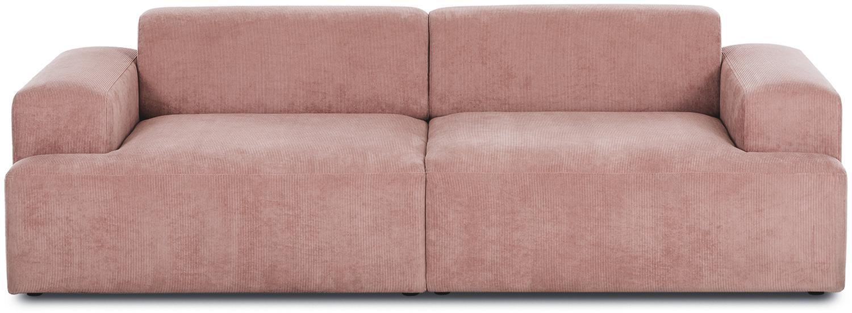 Corduroy bank Melva (3-zits), Bekleding: corduroy (92% polyester, , Frame: massief grenenhout, spaan, Poten: grenenhout, Roze, B 240 x D 101 cm