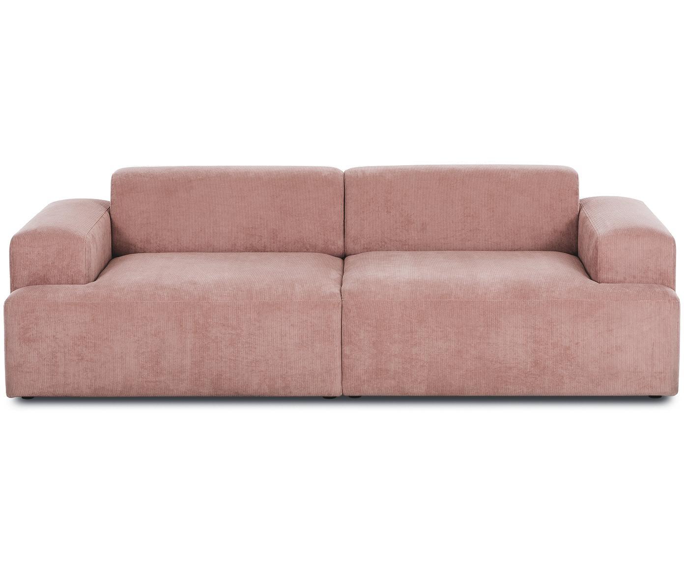 Sofa ze sztruksu Melva (3-osobowa), Tapicerka: sztruks (92% poliester, 8, Stelaż: lite drewno sosnowe, płyt, Nogi: drewno sosnowe, Sztruks blady różowy, S 240 x G 101 cm