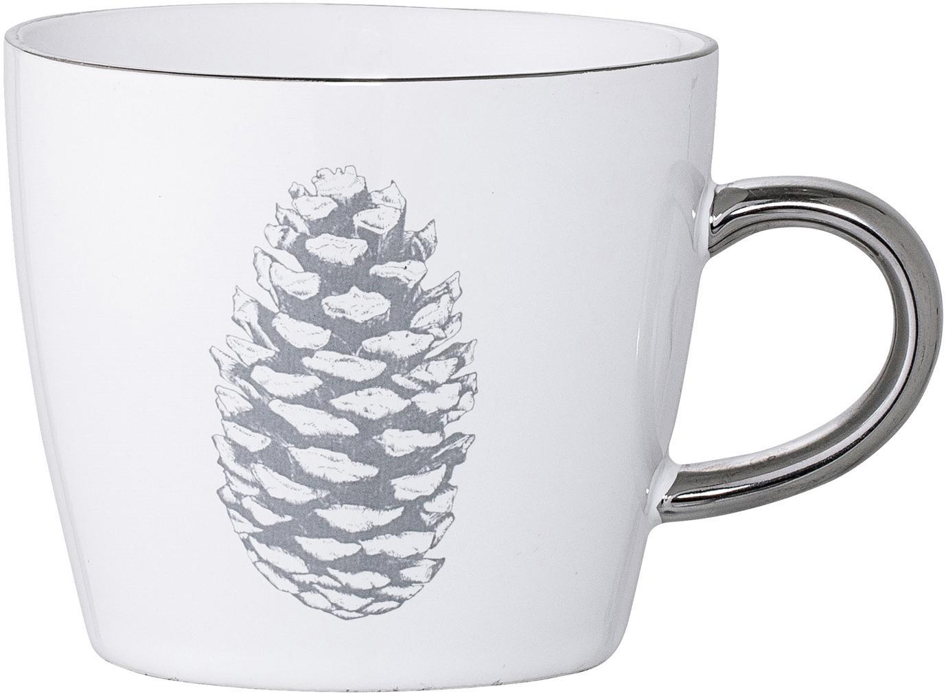 Tassen Frost mit winterlichem Motiv und silbernem Henkel, 2 Stück, Steingut, Weiss, Silberfarben, Hellgrau, Ø 10 x H 8 cm