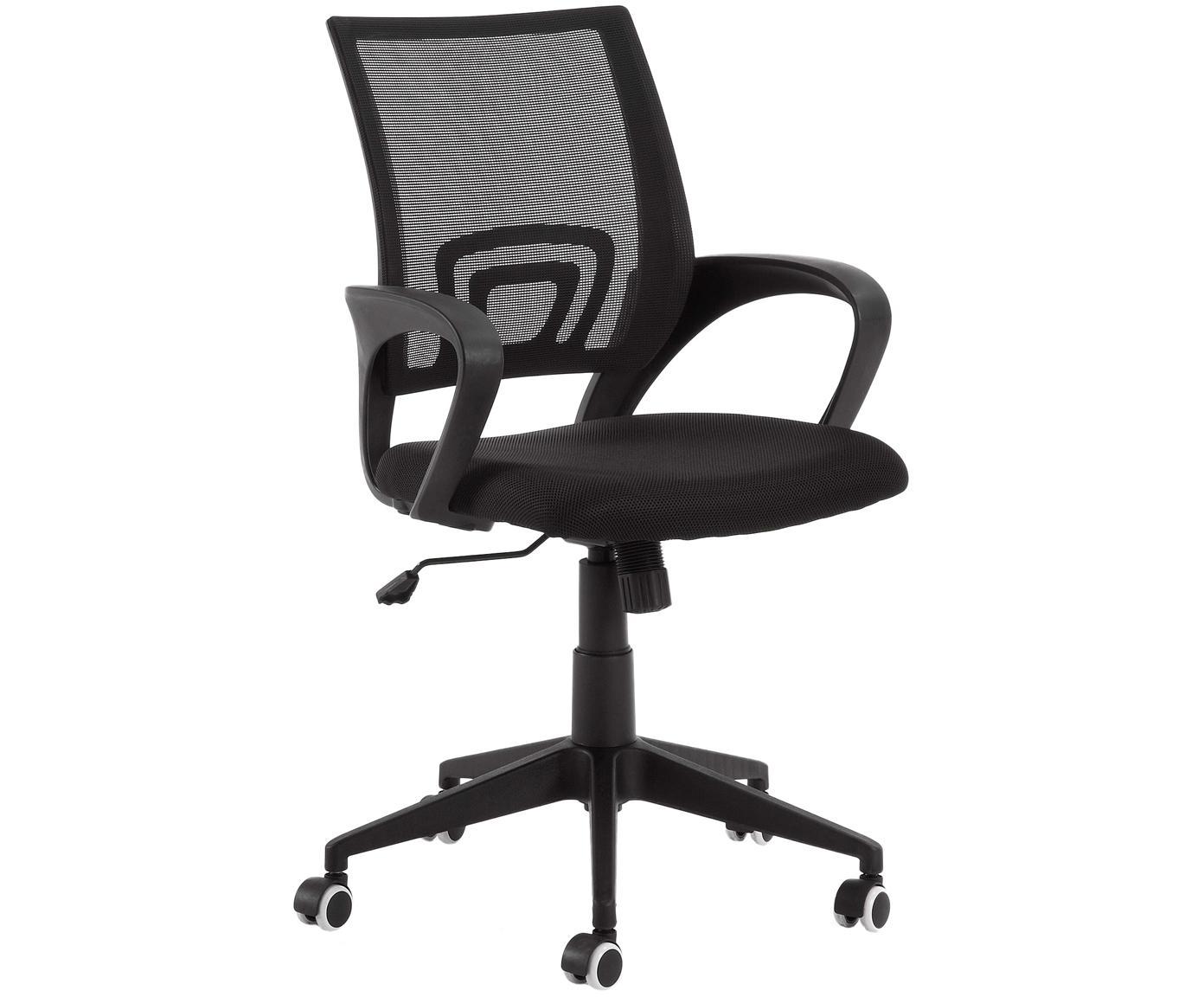 Bürodrehstuhl Rail, höhenverstellbar, Füße: Metall, lackiert, Rollen: Kunststoff (Polyurethan), Schwarz, 63 x 91 cm
