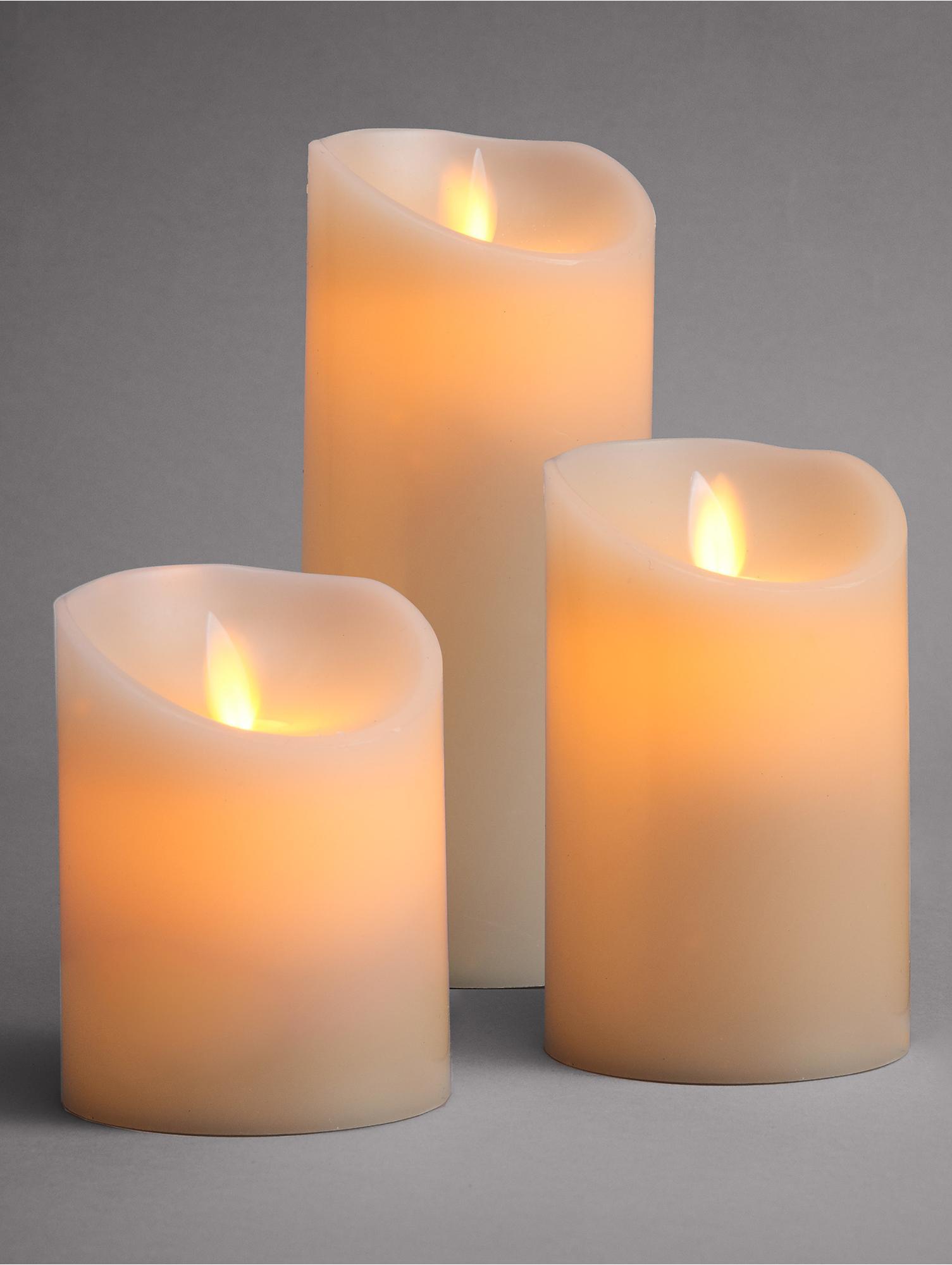Candela a LED Glowing Flame 2 pz, Paraffina, materiale sintetico, Crema, Diverse dimensioni