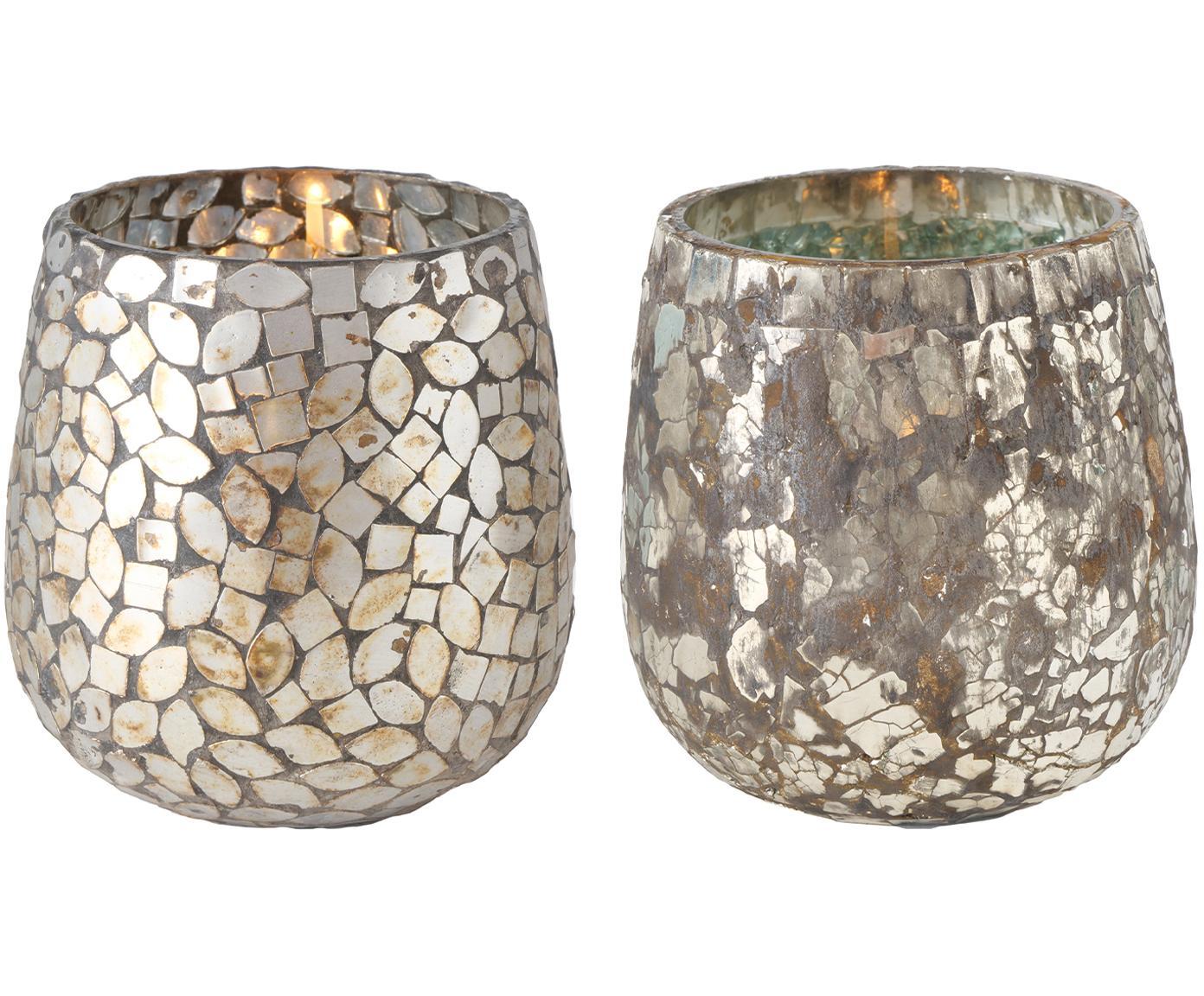 Windlichter-Set Kyritz, 2-tlg., Glas, Braun, Silberfarben mit Antik-Finish, Ø 12 x H 13 cm
