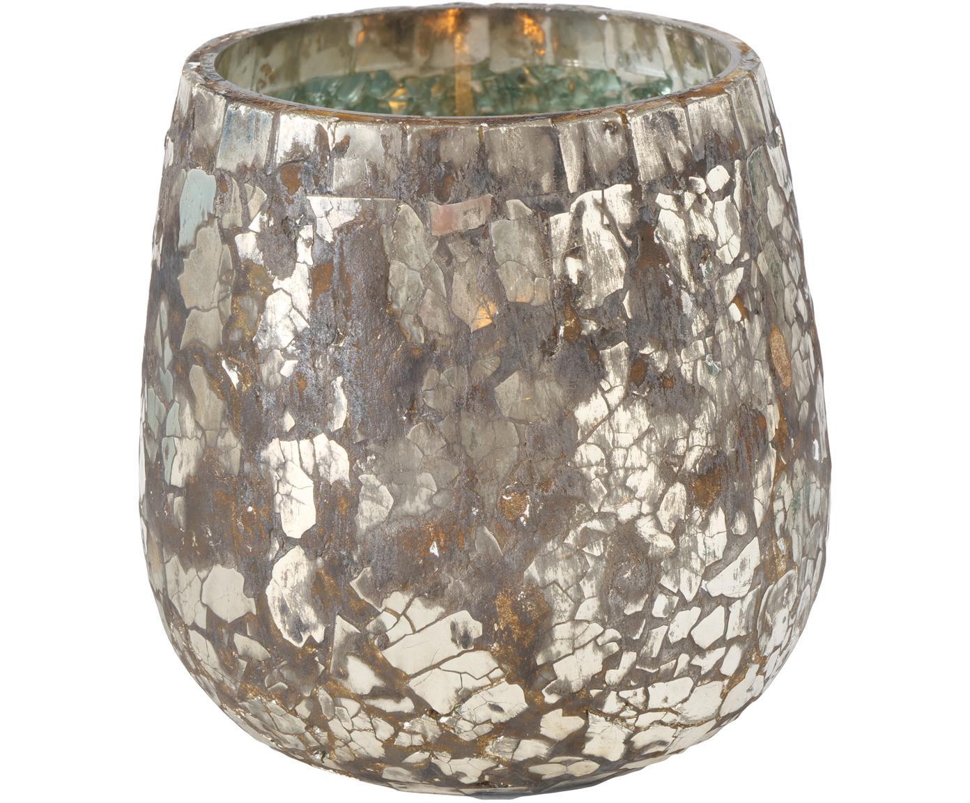 Komplet świeczników Kyritz, 2 elem., Szkło, Brązowy, odcienie srebrnego z antycznym wykończeniem, Ø 12 x W 13 cm