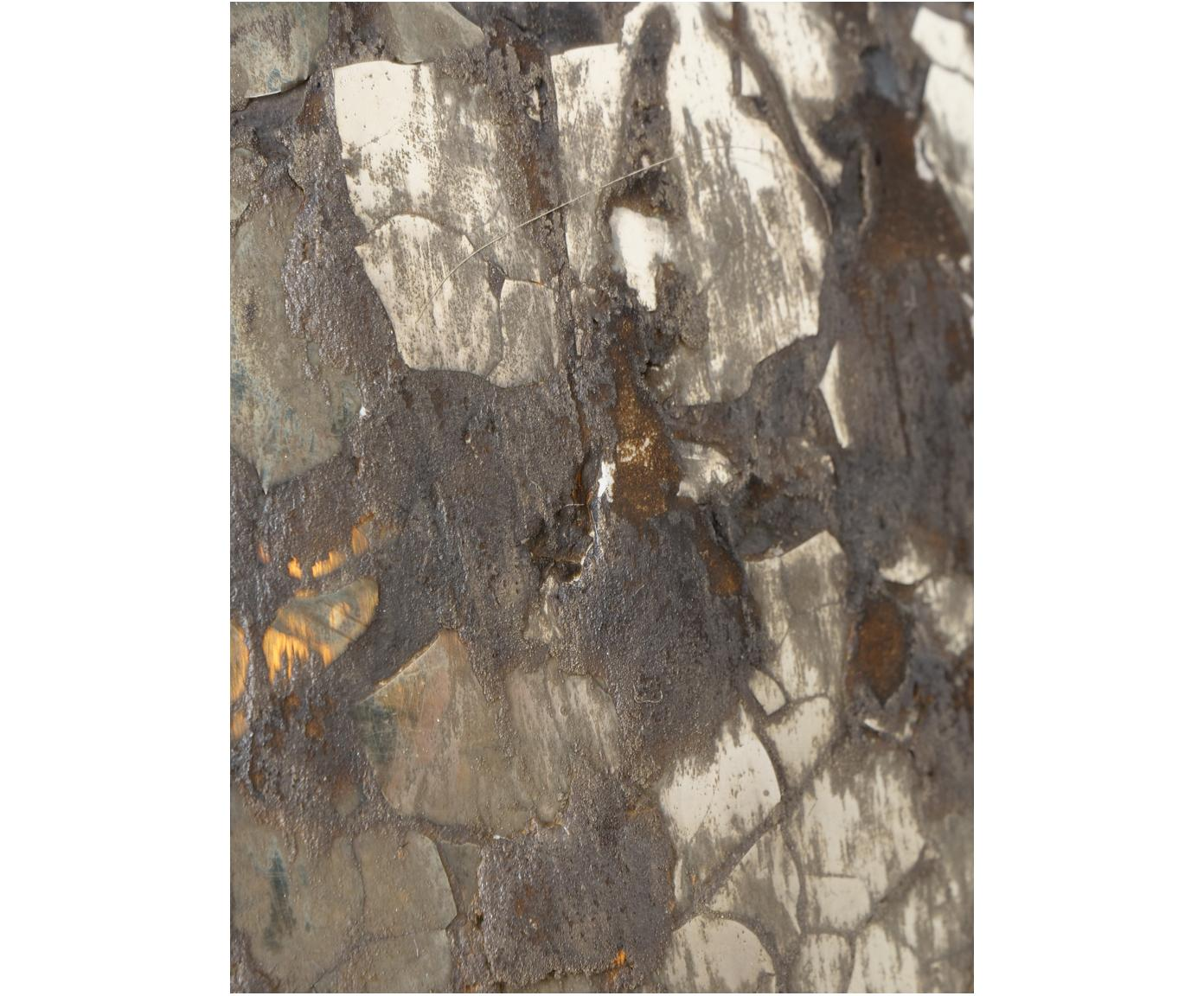 Set 2 portacandele Kyritz, Vetro, Marrone, argento con finitura anticata, Ø 12 x Alt. 13 cm