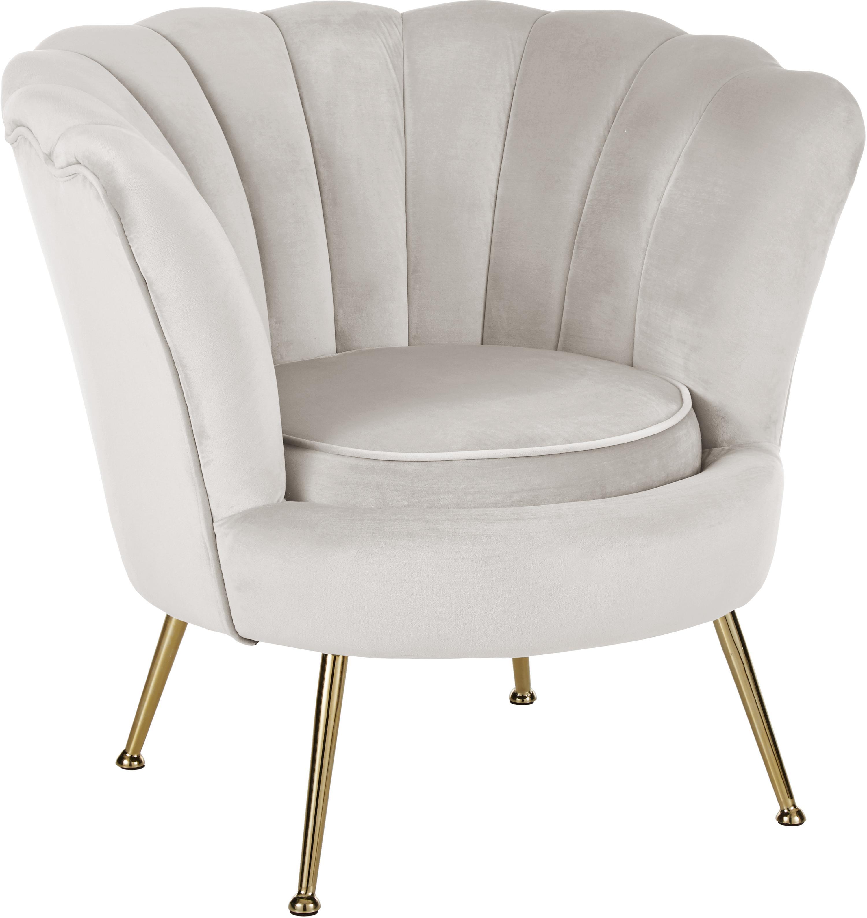 Samt-Sessel Oyster, Bezug: Samt (Polyester) 30.000 S, Gestell: Sperrholz, Füße: Metall, galvanisiert, Samt Cremeweiß , 81 x 75 cm