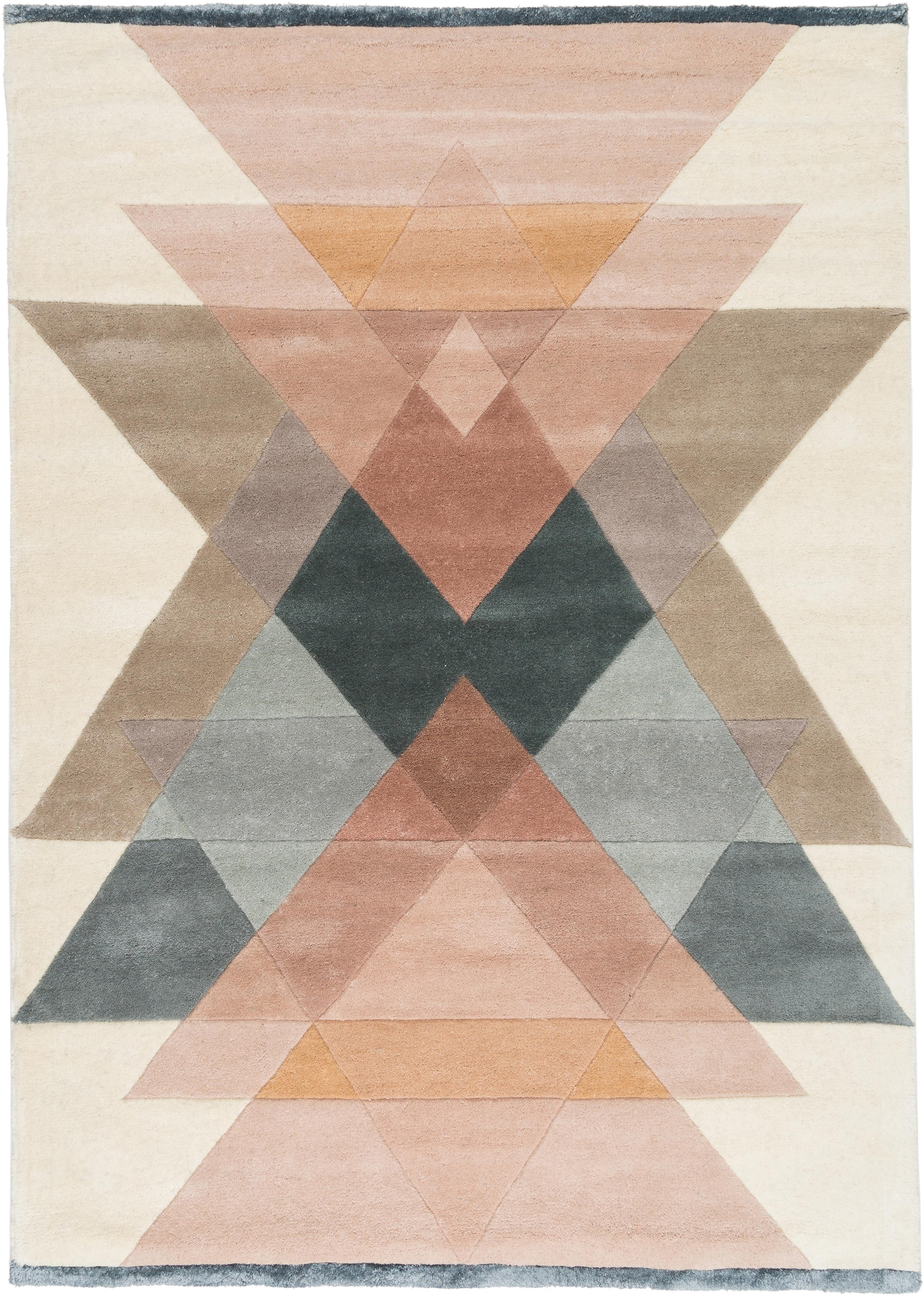 Tappeto in lana taftato a mano Freya, Retro: cotone, Beige, rosa, blu grigio, Larg.170 x Lung. 240 cm  (taglia M)