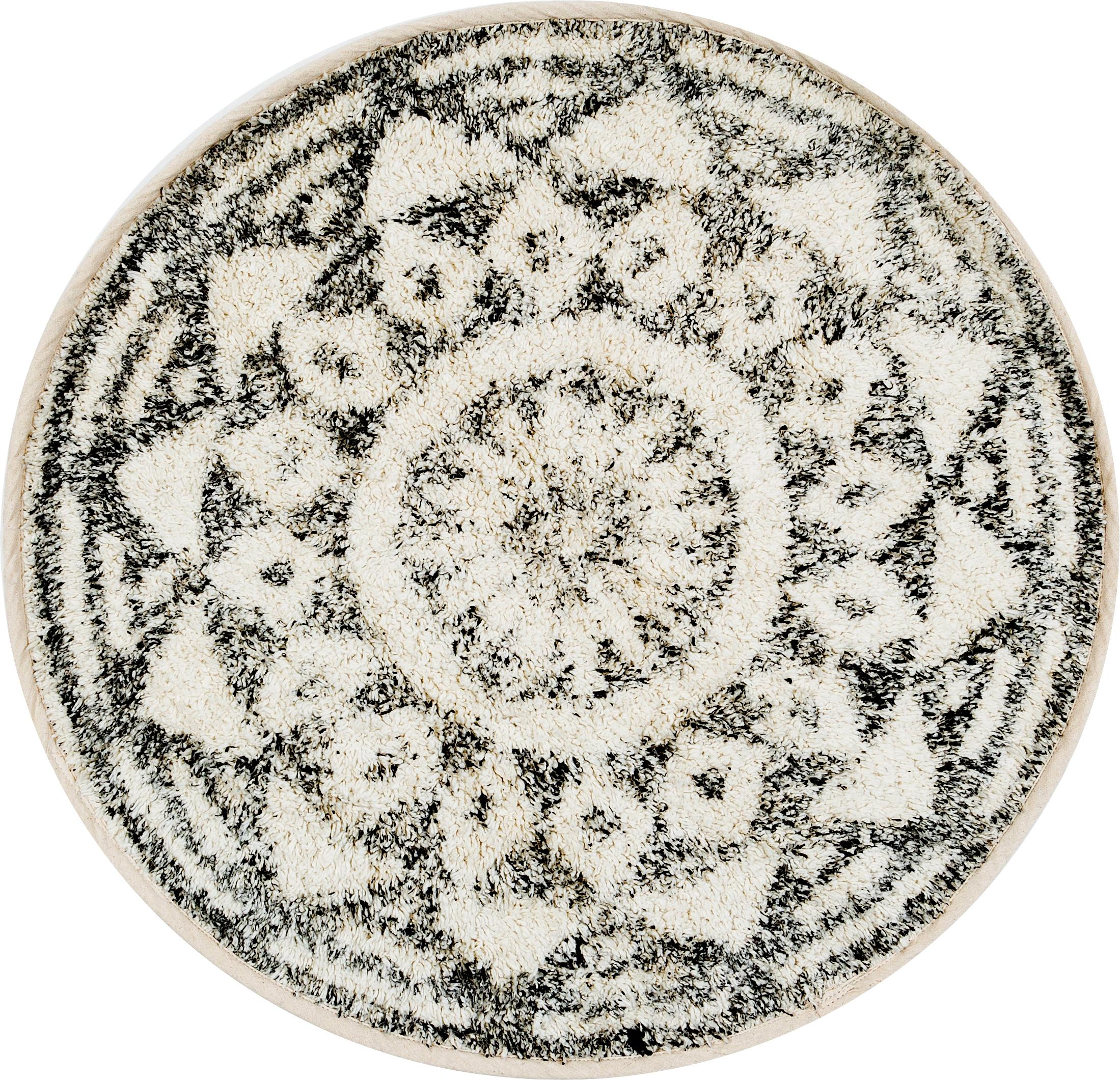Runde Badematte Gaile im Boho Style, rutschfest, Flor: 100% Baumwolle, Vorderseite: Cremefarben, Grau meliertRückseite: Cremefarben, Ø 80 cm