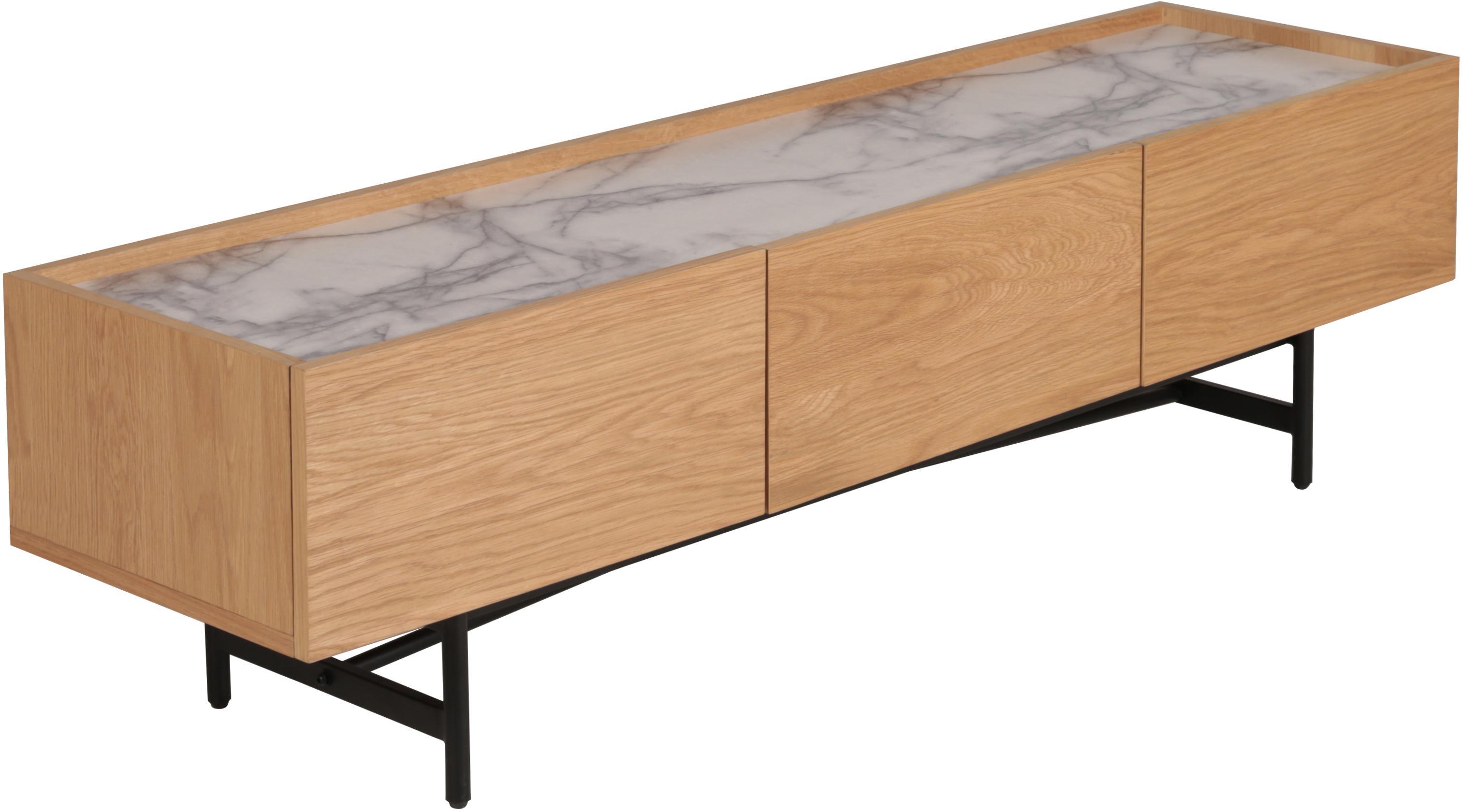 Tv-meubel Carare, Frame: MDF met eiken fineer, Poten: gecoat metaal, Tafelblad: marmer, Bruin, zwart, wit, gemarmerd, 160 x 45 cm