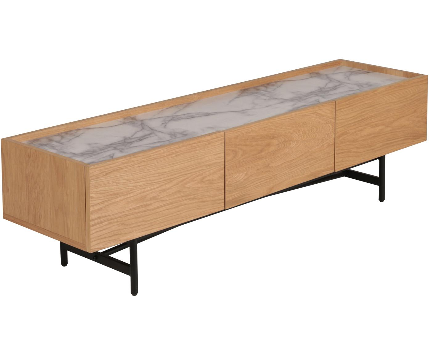 Mobile TV Carare, Piedini: metallo rivestito Piano m, Marrone, nero, bianco, marmorizzato, Larg. 160 x Alt. 45 cm