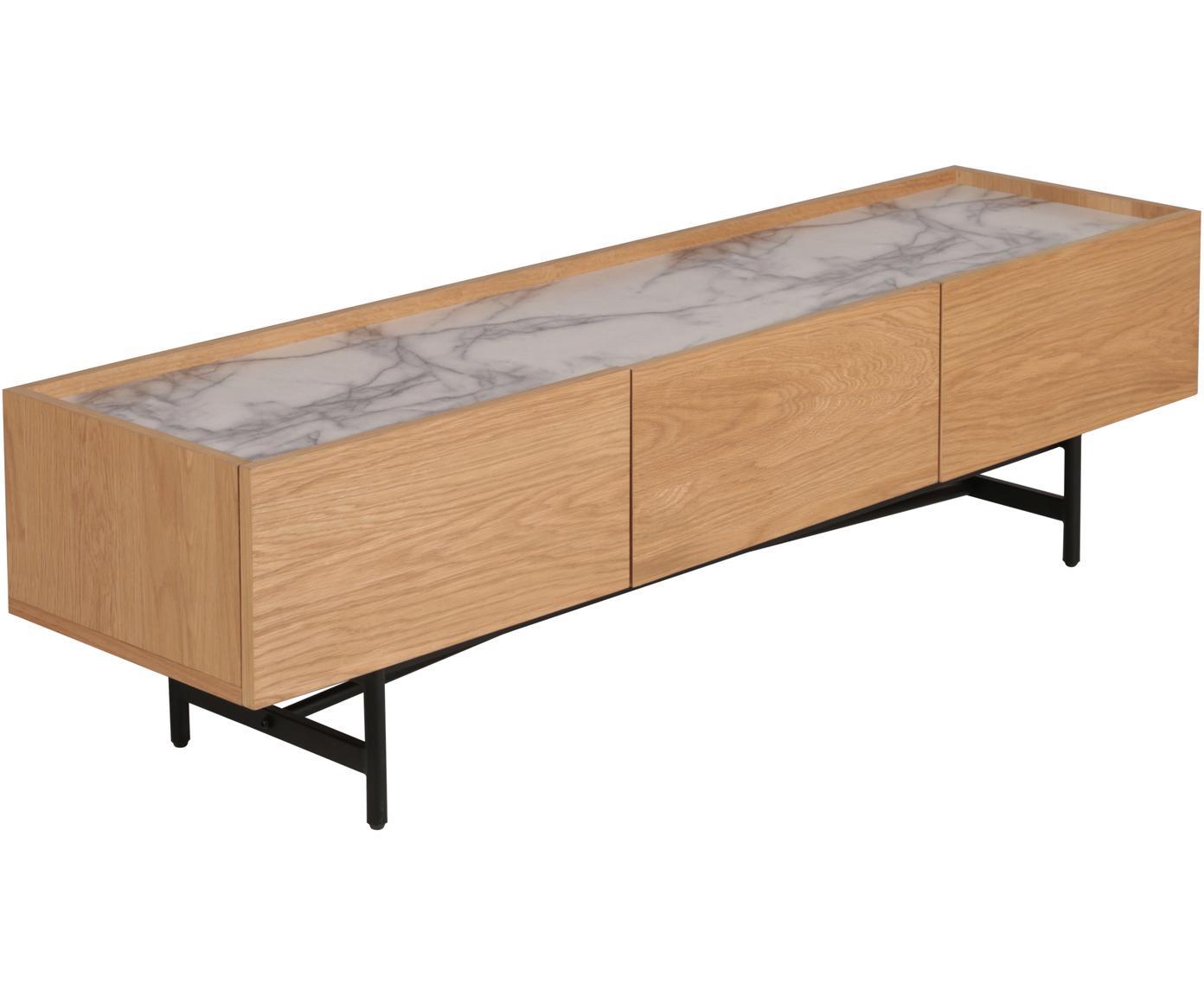 Mueble de TV Carare, Estructura: tablero de fibras de dens, Patas: metal recubierto, Tablero: mármol, Marrón, negro, mármol gris, An 160 x Al 45 cm