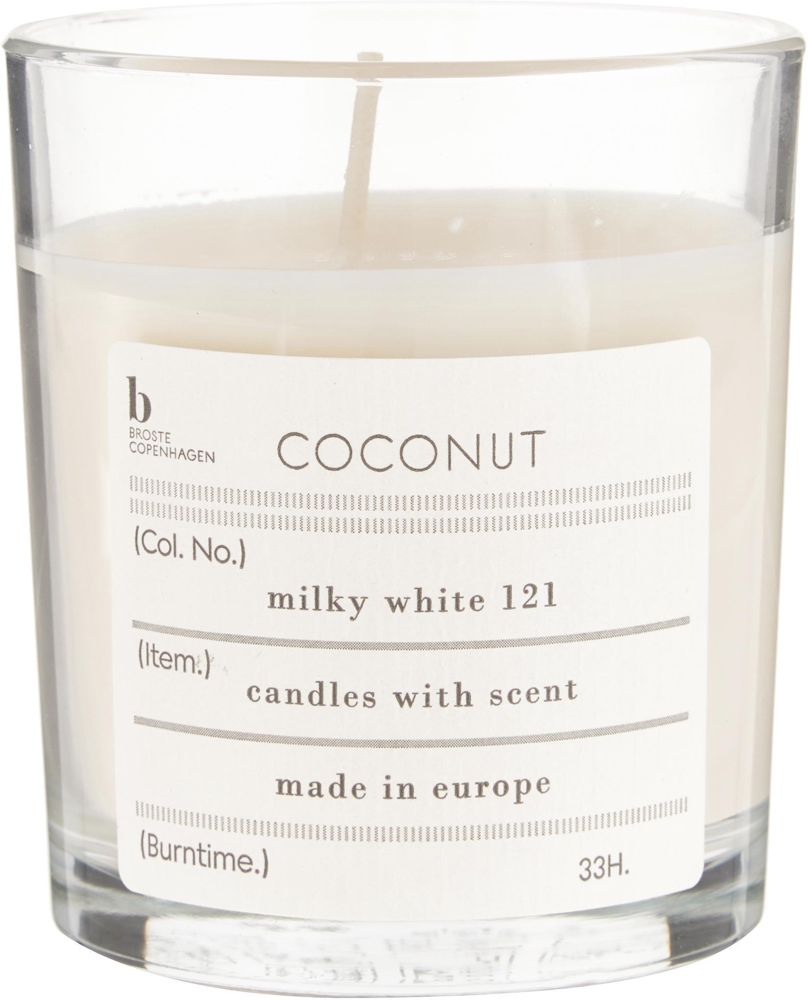 Vela perfumada Bliss (coco), Cera de soja natural, vidrio, Transparente, Al 8 cm