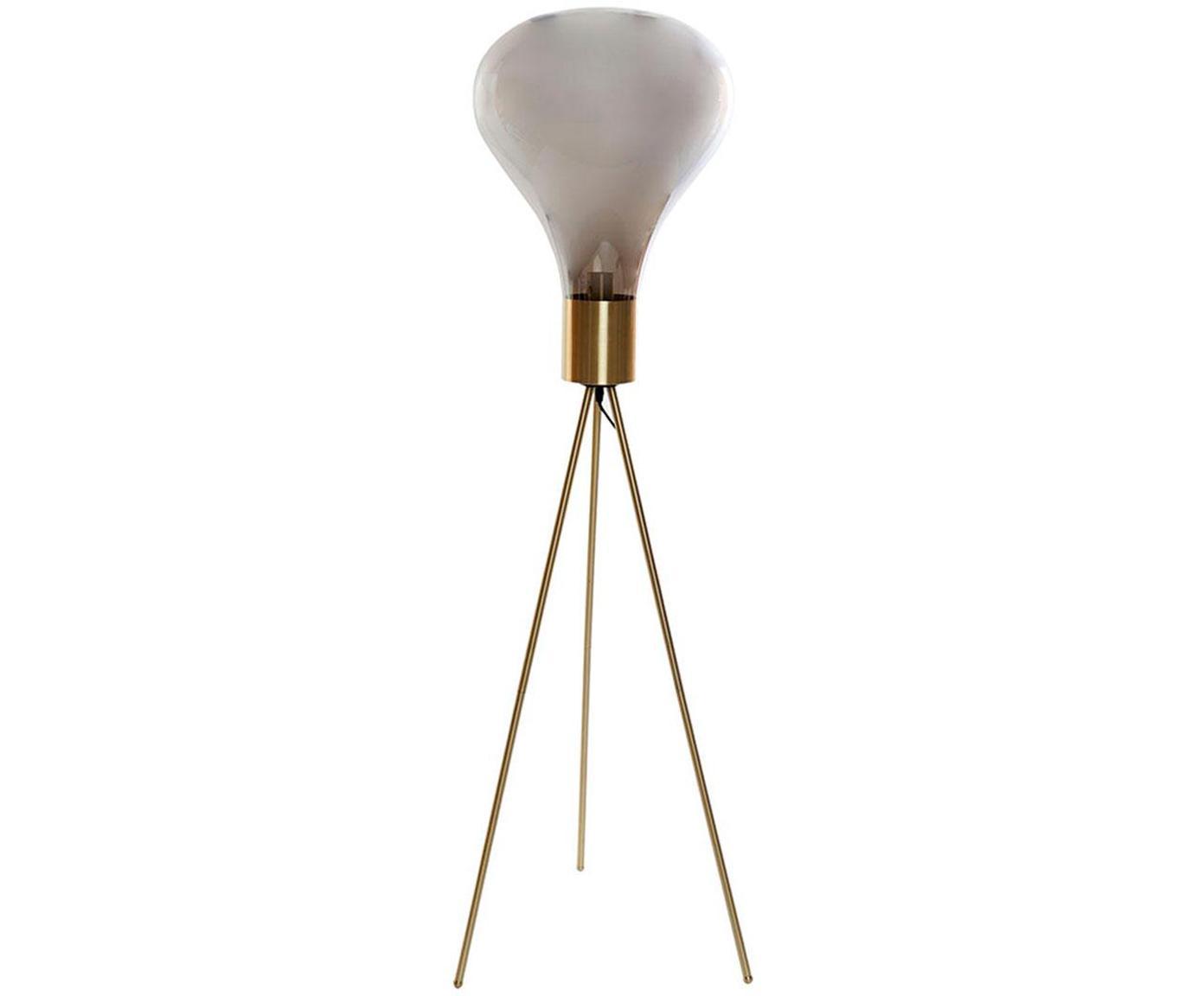 Lámpara de pie Jungle, Patas: Metal, Pantalla: Vidrio, Gris, Ø 48 x Al 155 cm