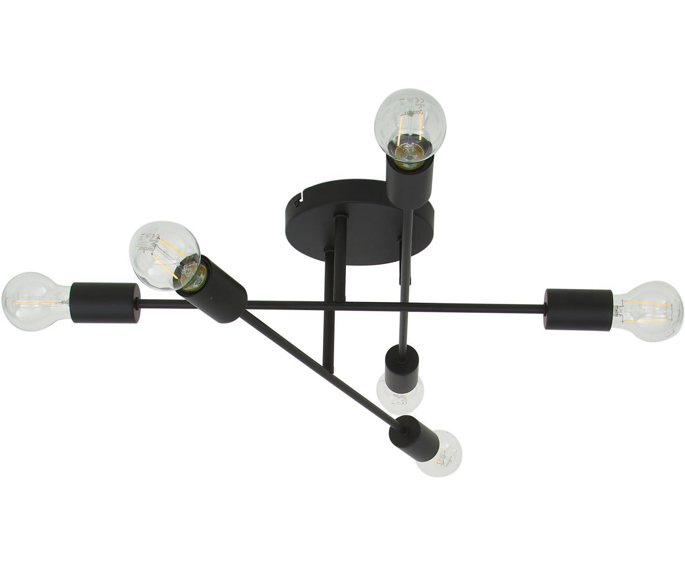 Lámpara de techo Morris, Anclaje: metal con pintura en polv, Estructura: metal con pintura en polv, Negro mate, Ø 55 x Al 20 cm