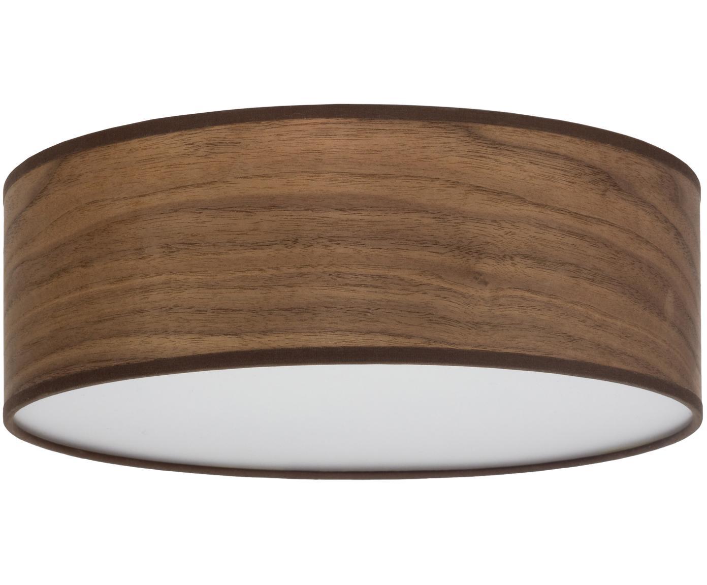 Plafondlamp Tsuri, Lampenkap: walnoothoutfineer, Diffuser: kunststof, Walnoothoutkleurig, wit, Ø 30 x H 10 cm
