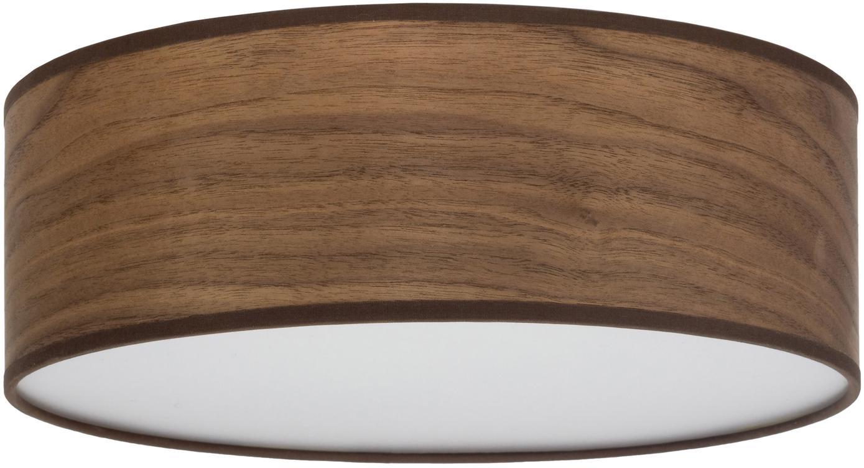 Plafondlamp Tsuri van walnoothout, Lampenkap: walnoothoutfineer, Diffuser: kunststof, Walnoothoutkleurig, wit, Ø 30 x H 10 cm