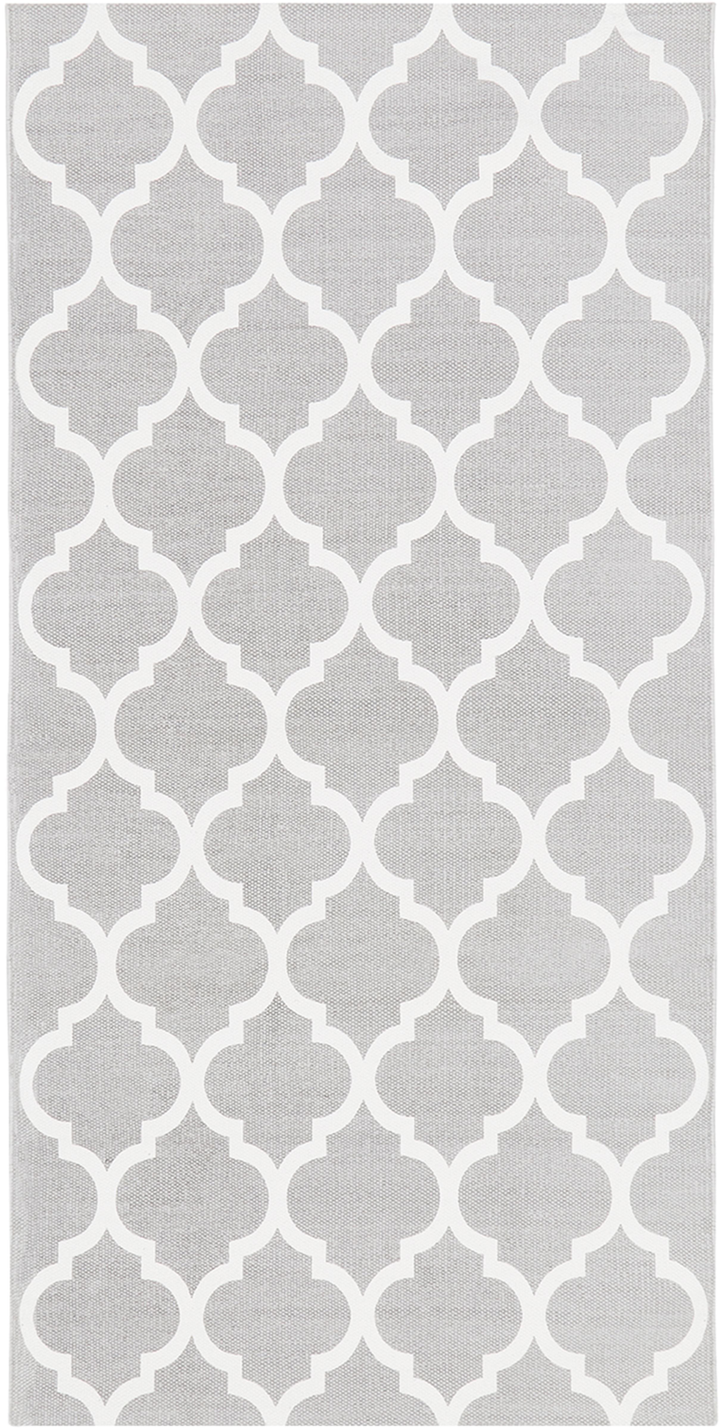 Flachgewebter Baumwollteppich Amira in Grau/Weiß, 100% Baumwolle, Hellgrau, Cremeweiß, B 70 x L 140 cm (Größe XS)