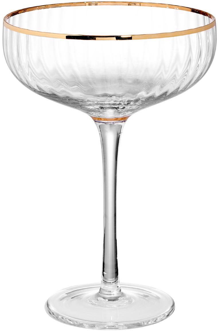 Coupe à champagne Golden Twenties, 2 pièces, Transparent, couleur dorée