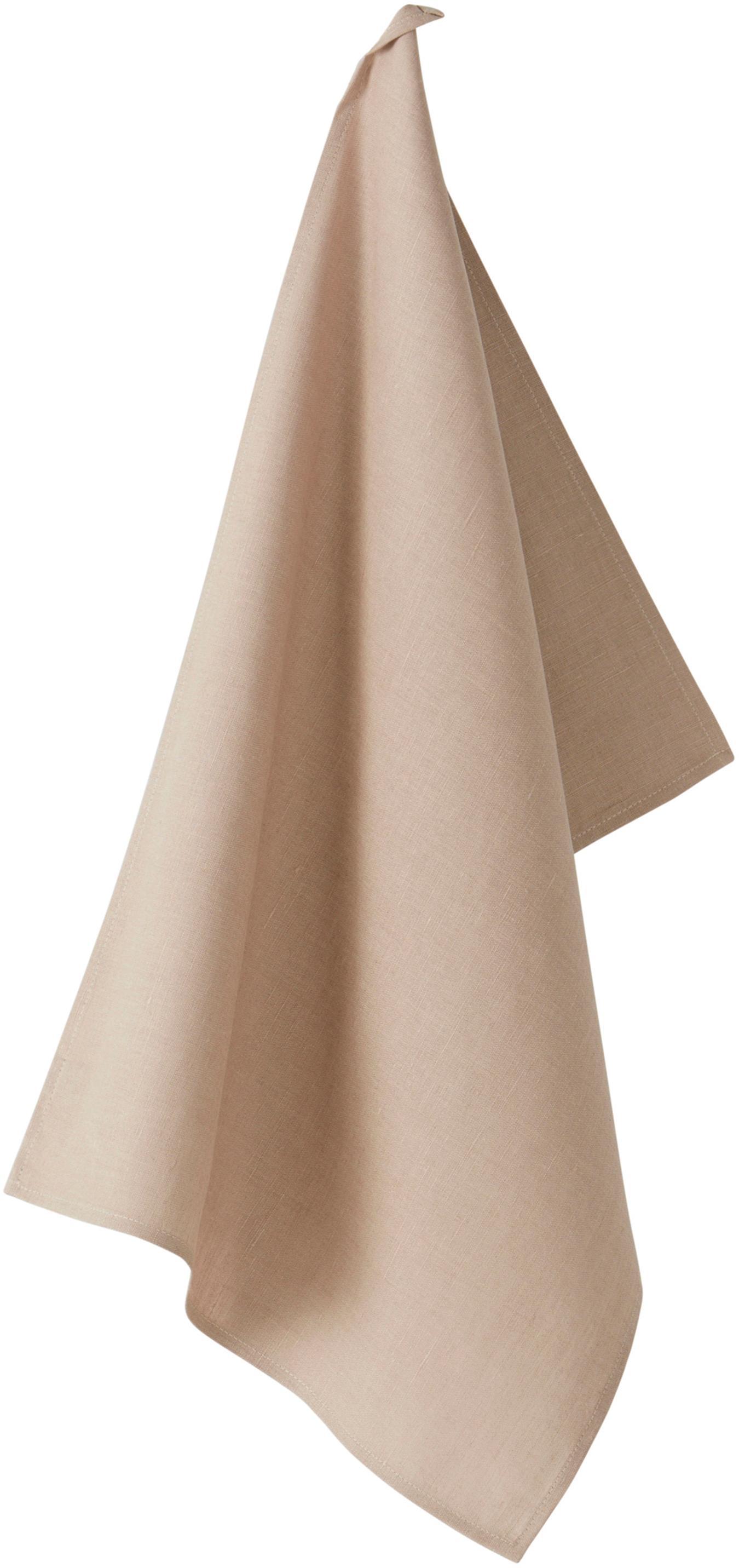 Leinen-Geschirrtuch Hermia, 57% Leinen, 43% Baumwolle, Beige, 50 x 70 cm