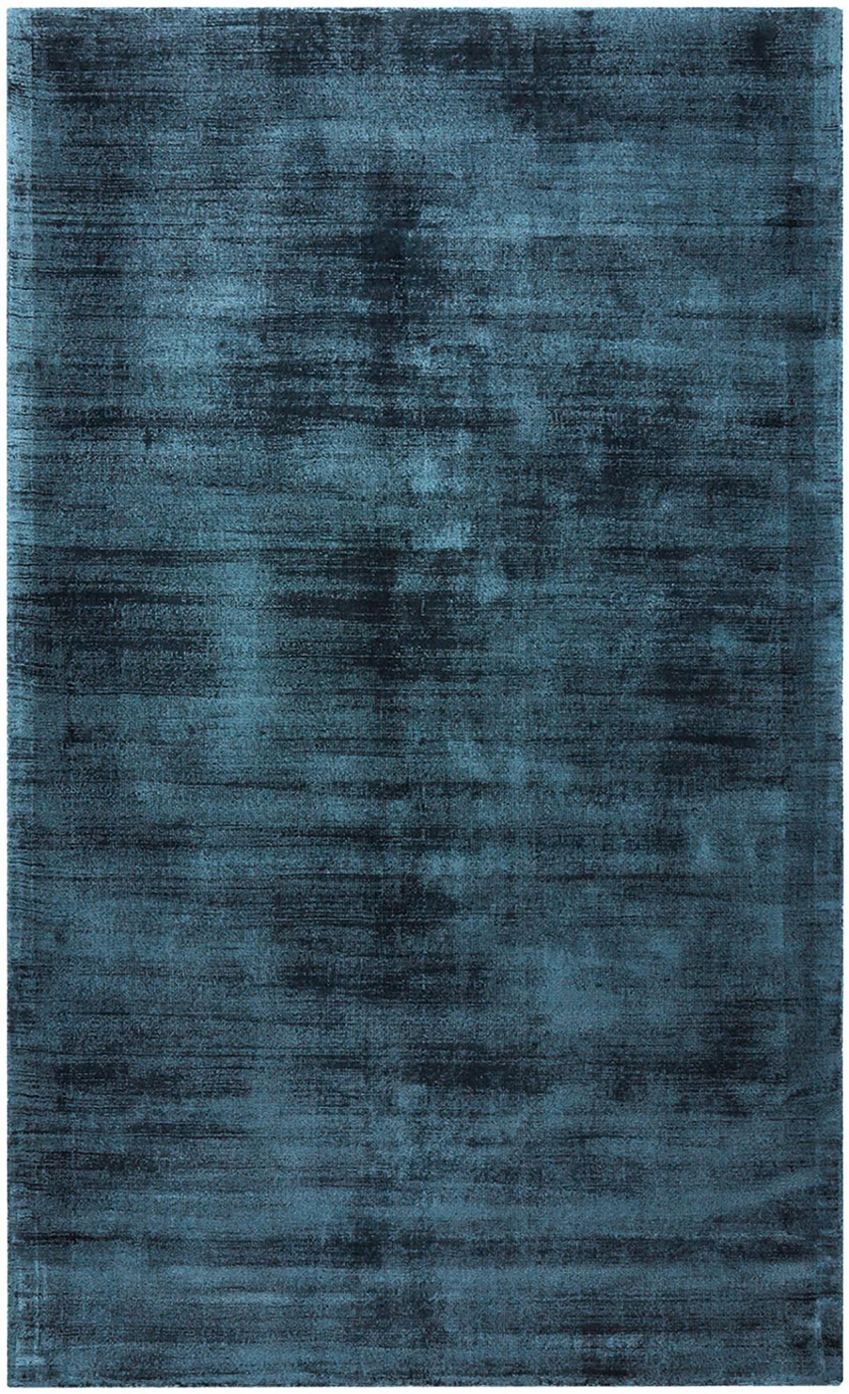 Handgeweven viscose vloerkleed Jane in petrolblauw, Bovenzijde: 100% viscose, Onderzijde: 100% katoen, Petrolblauw, B 90 x L 150 cm (maat XS)