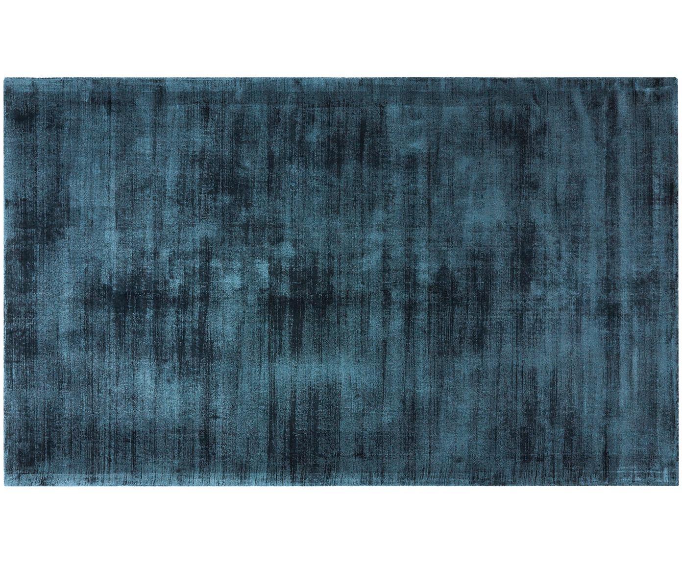 Alfombra artesanal de viscosa Jane, Parte superior: 100%viscosa, Reverso: 100%algodón, Azul petróleo, An 90 x L 150 cm (Tamaño XS)