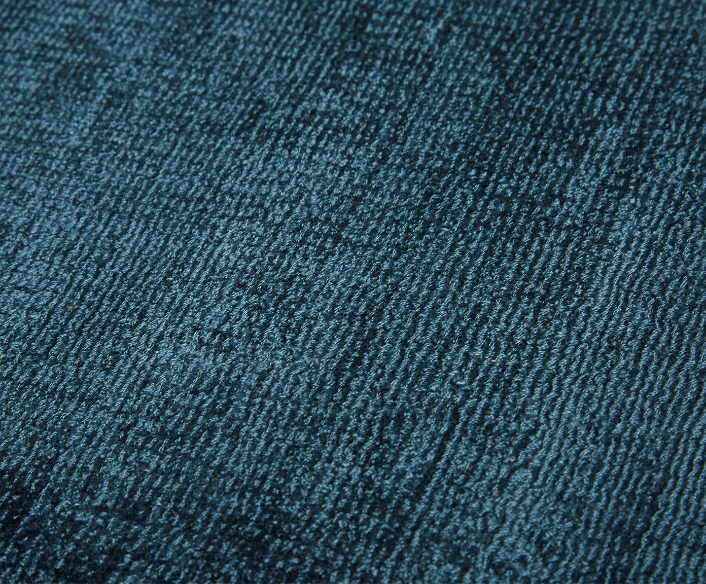 Handgeweven viscose vloerkleed Jane, Bovenzijde: 100% viscose, Onderzijde: 100% katoen, Petrol, 160 x 230 cm