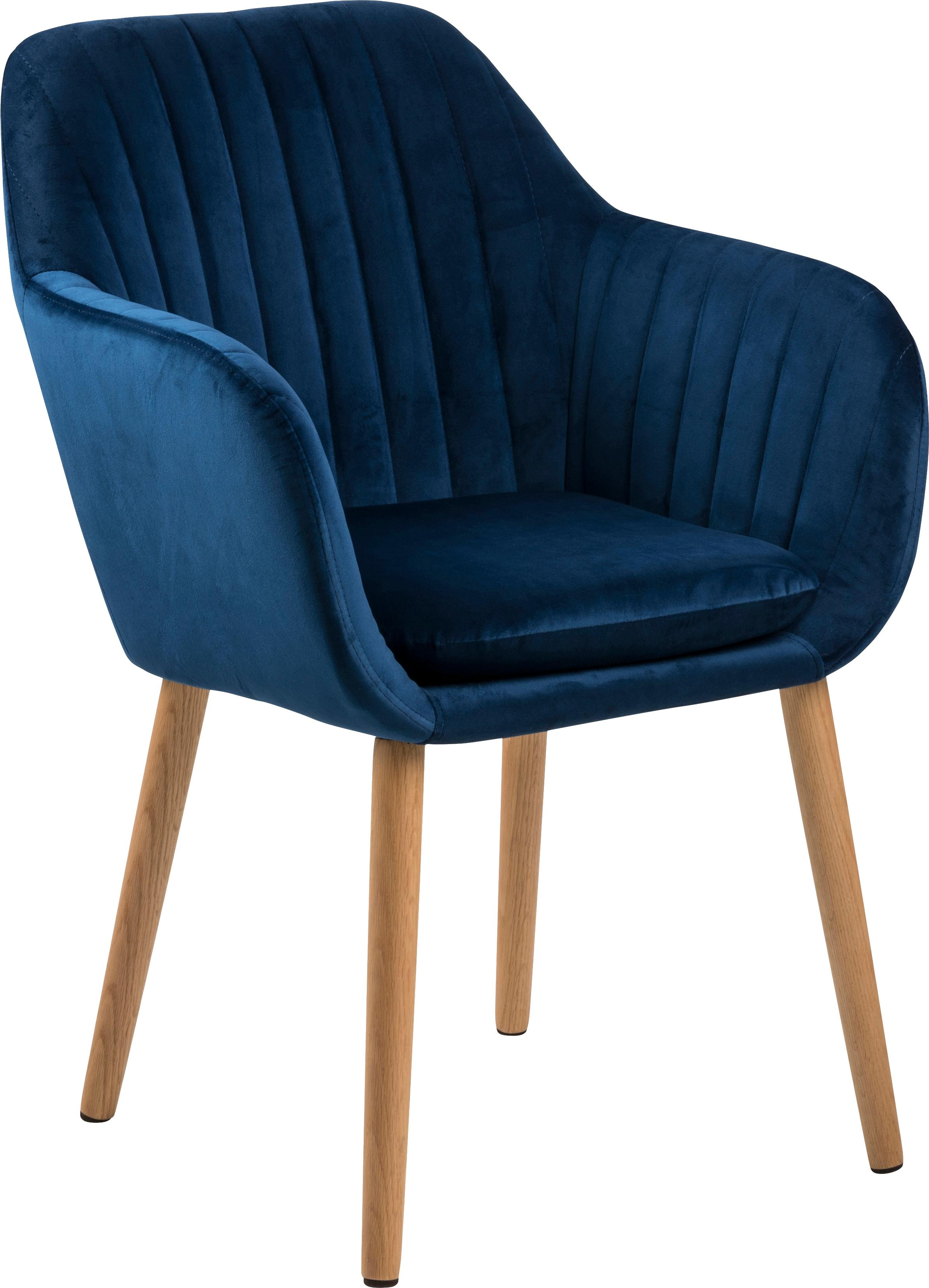 Fluwelen armstoel Emilia, Bekleding: polyester (fluweel), Poten: geolied eikenhout, Bekleding: donkerblauw. Poten: eikenhoutkleurig, B 57 x D 59 cm