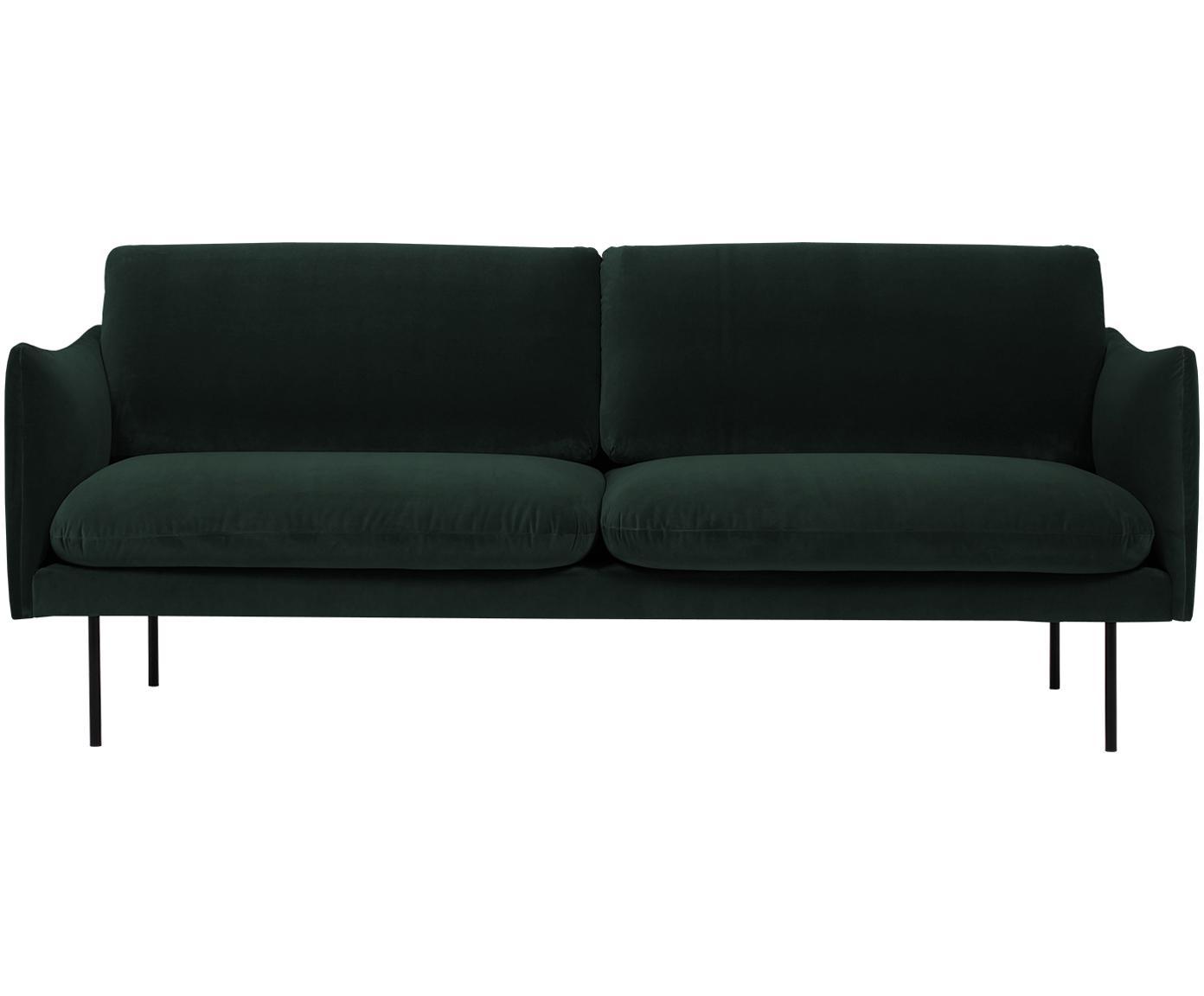 Sofa z aksamitu Moby (2-osobowa), Tapicerka: aksamit (wysokiej jakości, Stelaż: lite drewno sosnowe, Nogi: metal malowany proszkowo, Ciemnyzielony, S 170 x G 95 cm