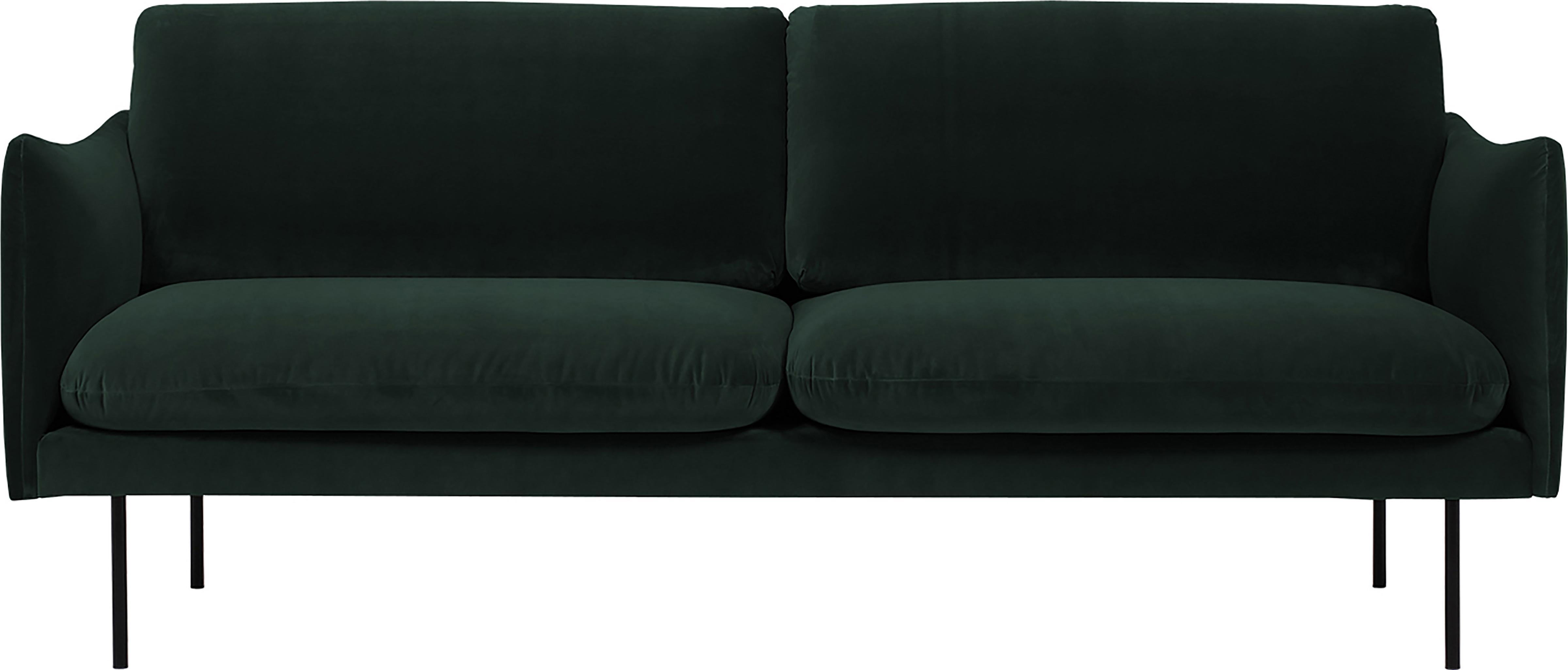 Fluwelen bank Moby (2-zits), Bekleding: fluweel (hoogwaardige pol, Frame: massief grenenhout, Poten: gepoedercoat metaal, Donkergroen, B 170 x D 95 cm