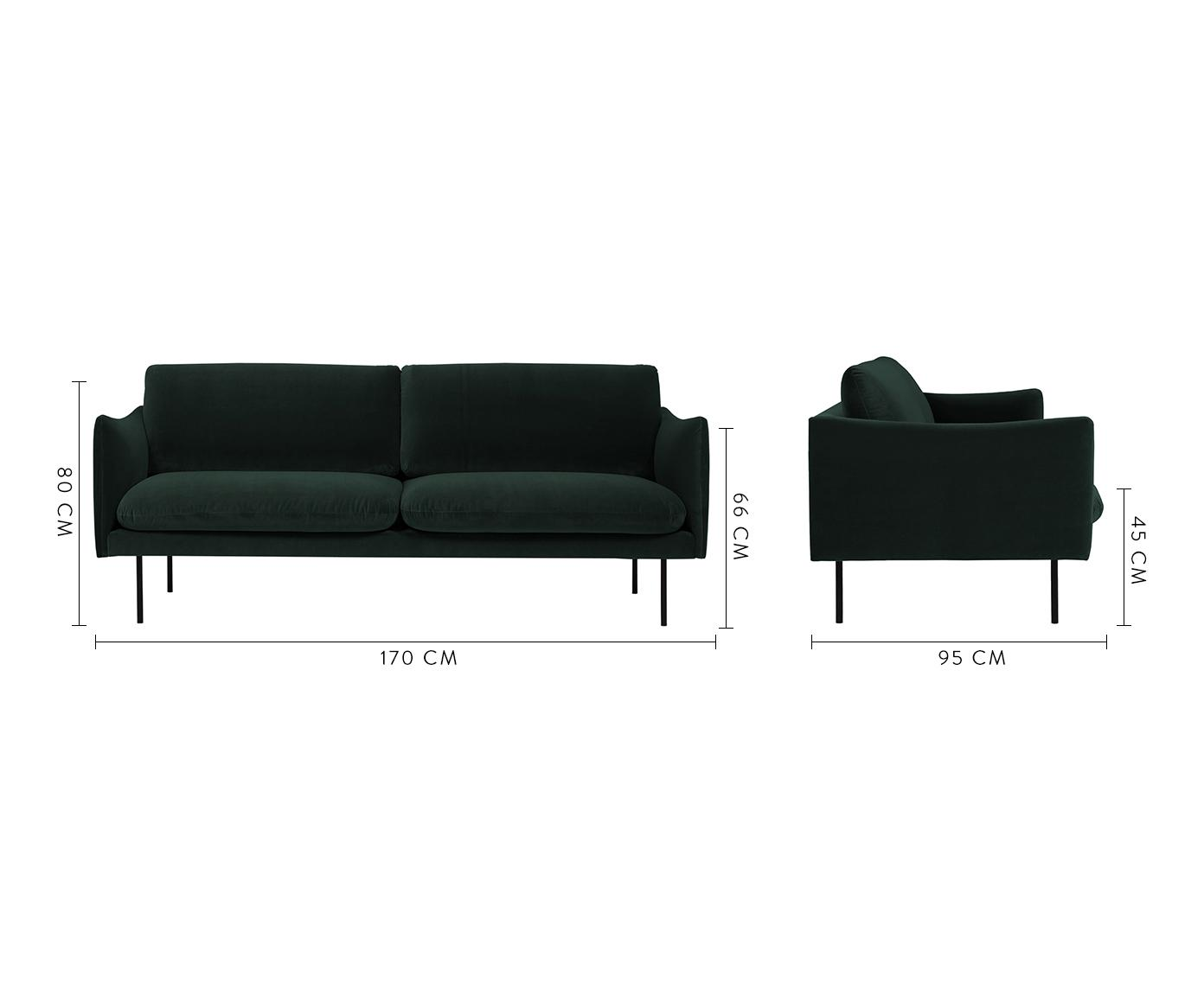Samt-Sofa Moby (2-Sitzer), Bezug: Samt (Hochwertiger Polyes, Gestell: Massives Kiefernholz, Füße: Metall, pulverbeschichtet, Samt Dunkelgrün, B 170 x T 95 cm