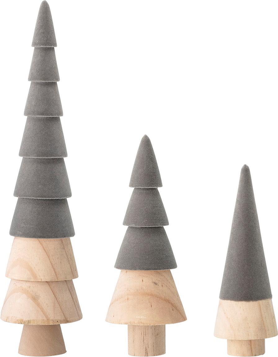 Samt-Deko-Objekte-Set Thace, 3-tlg., Holz, Polyestersamt, Grau, Holz, Sondergrößen