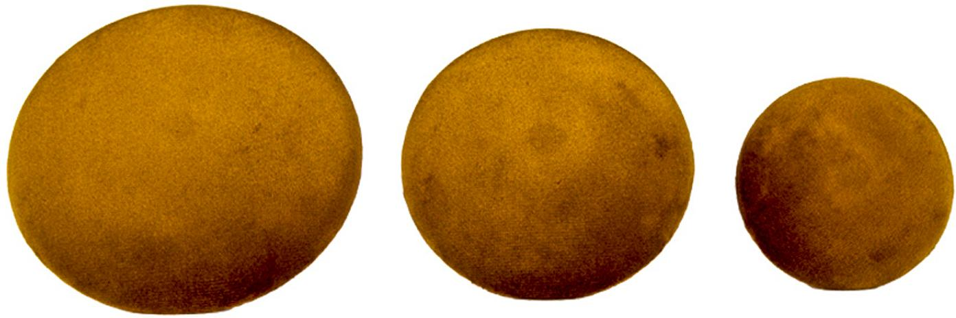 Samt-Haken-Set Giza, 3-tlg., Front: Samt, Senfgelb, Messingfarben, Sondergrößen
