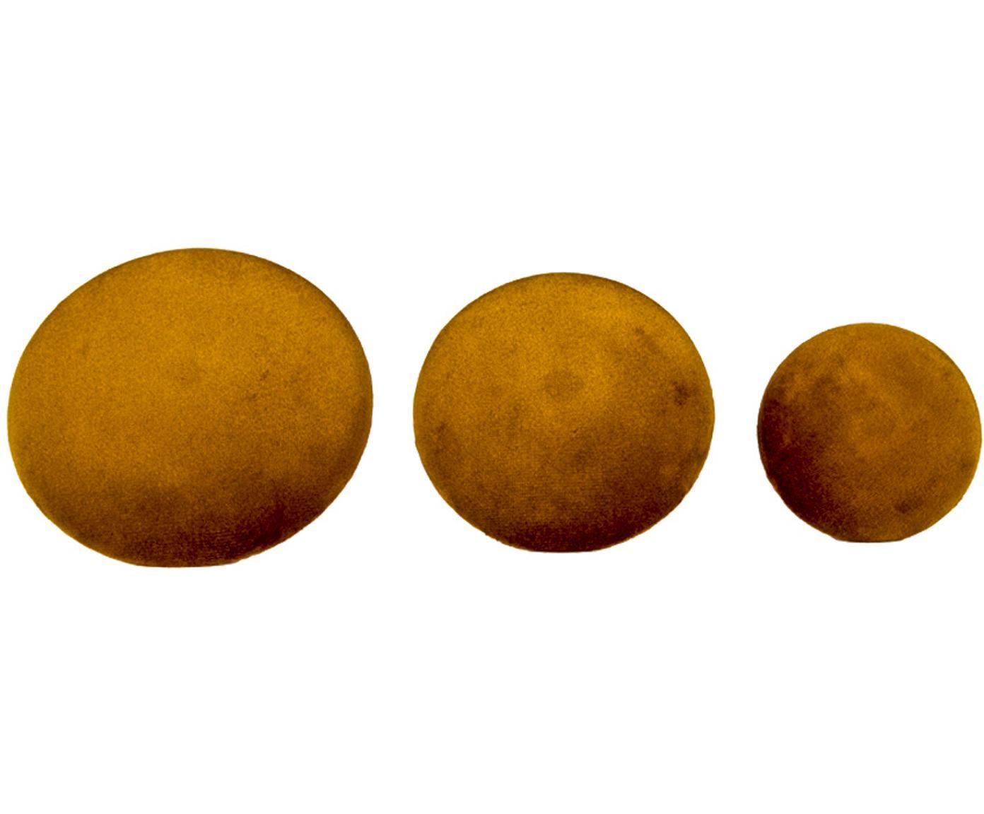 Samt-Haken-Set Giza, 3-tlg., Front: Samt, Senfgelb, Messingfarben, Verschiedene Grössen