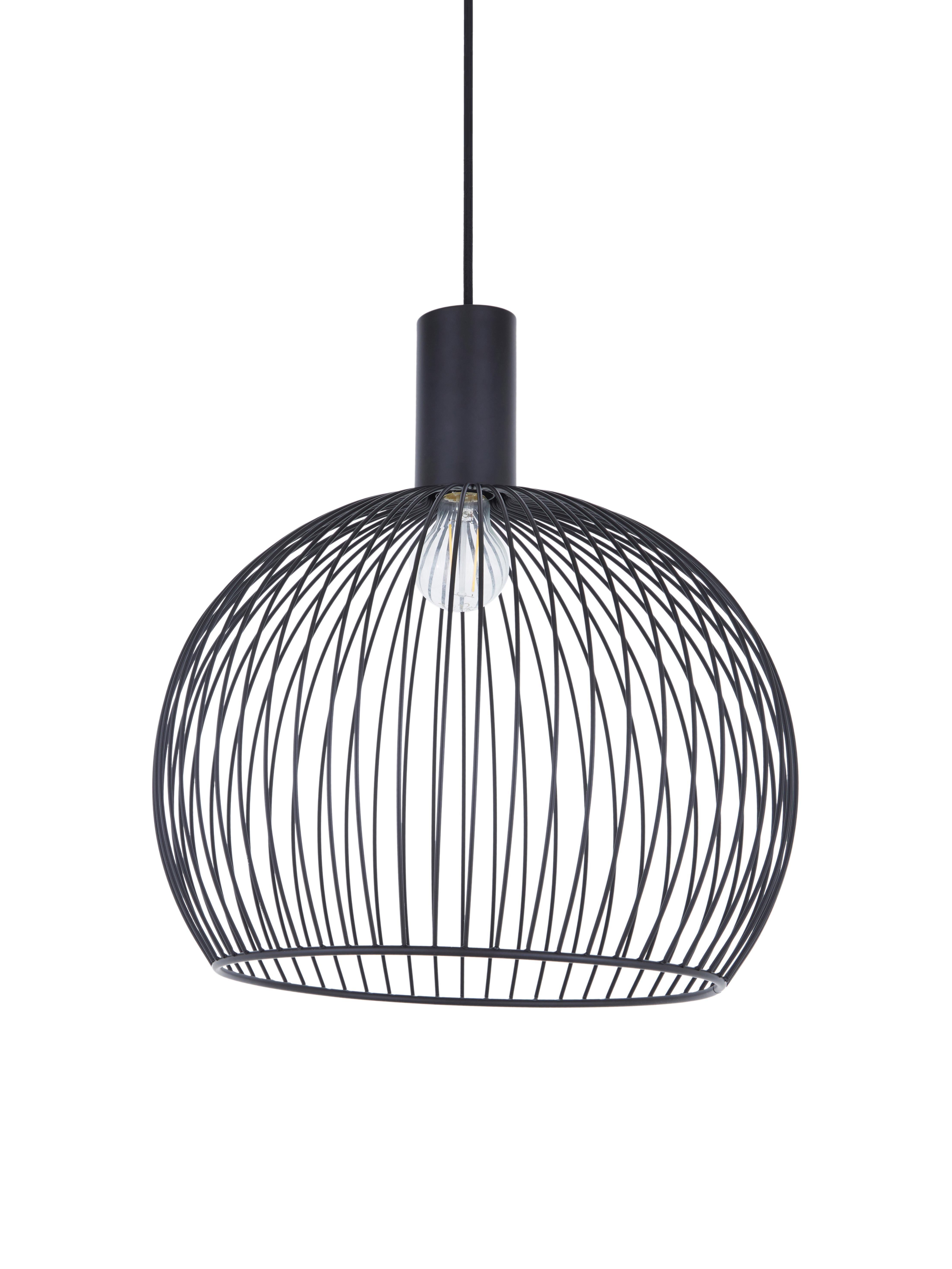 Lampada a sospensione di design Aver, Paralume: acciaio verniciato, Baldacchino: materiale sintetico, Nero, Ø 40 x Alt. 45 cm