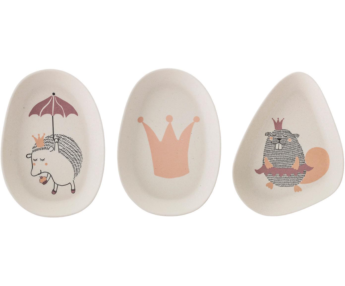 Kinderbordenset Princess, Bamboehout, melamine, Wit, Verschillende formaten
