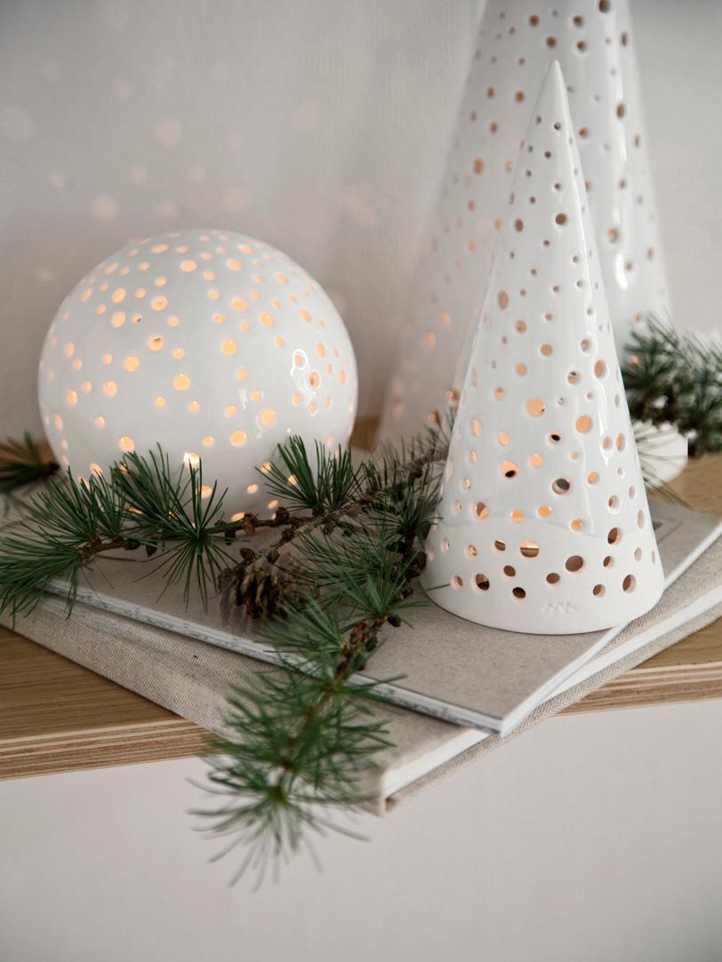 Teelichthalter Nobili, Porzellan, Weiß, glänzend, Ø 11 x H 25 cm