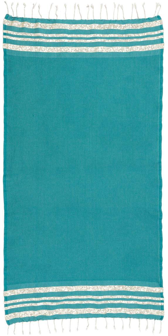 Lurex Hamamtuch Hamptons, Streifen: Lurex, Blaugrün, Goldfarben, 100 x 200 cm