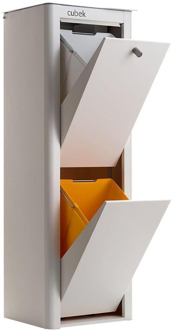 Cubo de basura para reciclar Cubek 2, Acero lacado, Blanco, An 34 x Al 99 cm