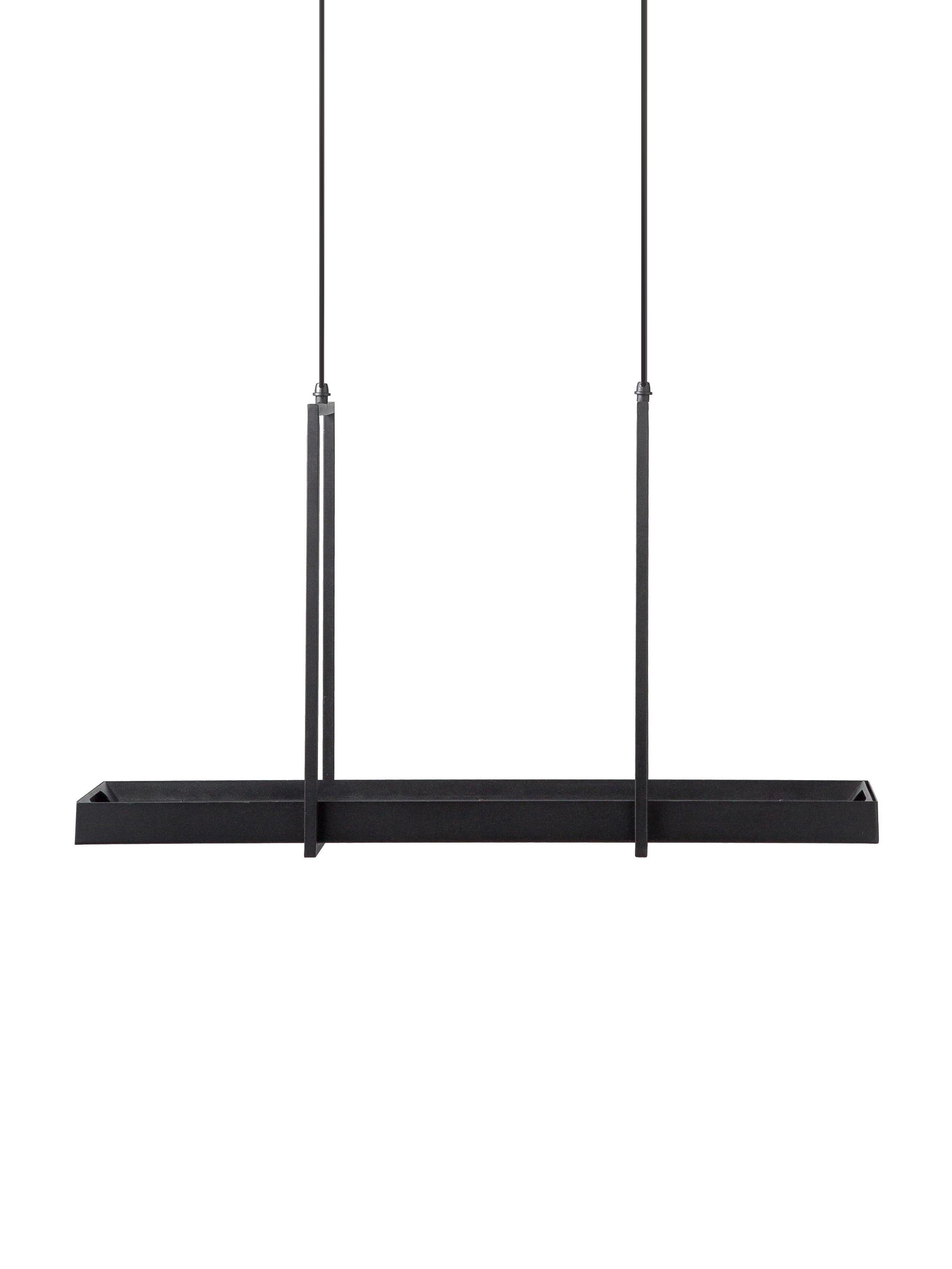 LED hanglamp Tray in industrieel design, Gelakt metaal, Zwart, 80 x 50 cm