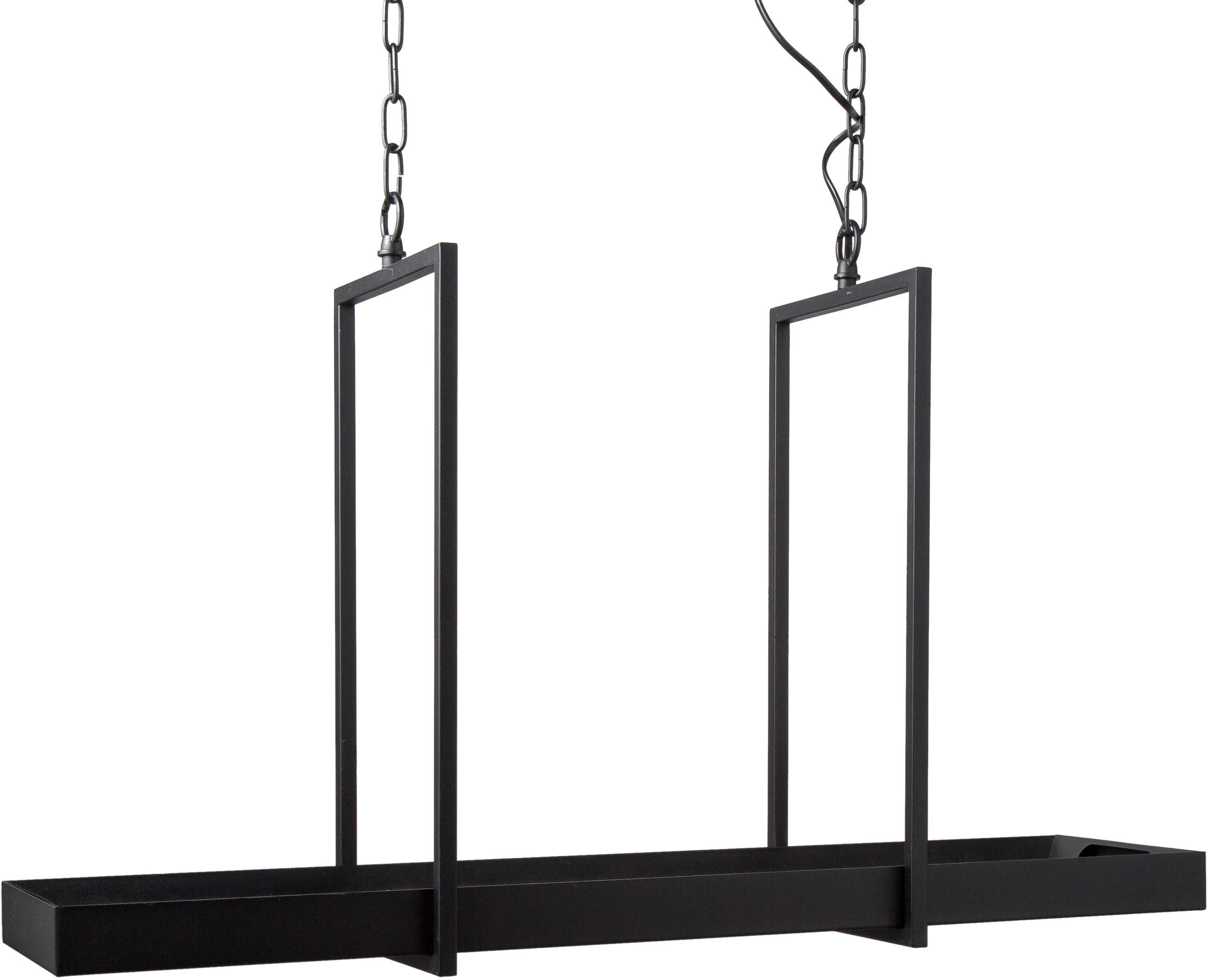 Große LED Pendelleuchte Tray im Industrial-Style, Metall, lackiert, Schwarz, 80 x 50 cm