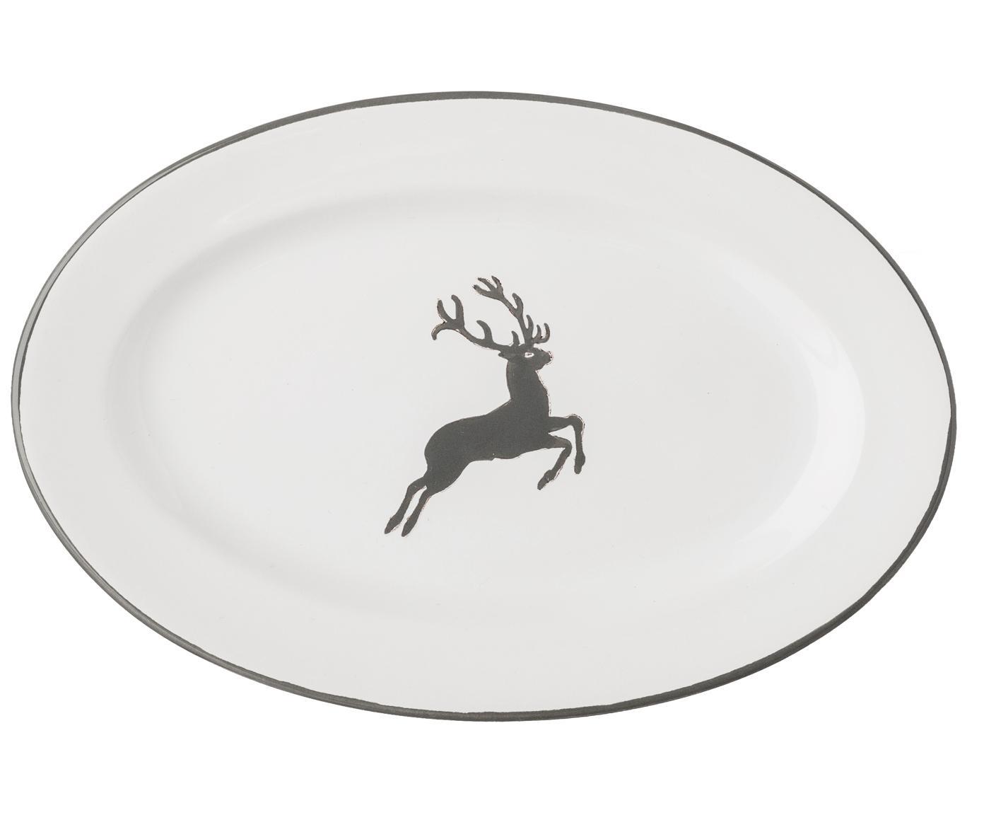 Handbemalte Servierplatte Gourmet Grauer Hirsch, Keramik, Grau,Weiß, 21 x 14 cm