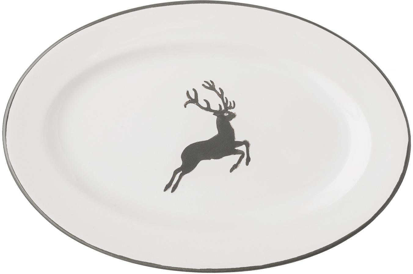 Ręcznie malowany półmisek Gourmet Grauer Hirsch, Ceramika, Szary, biały, D 14 x S 21 cm