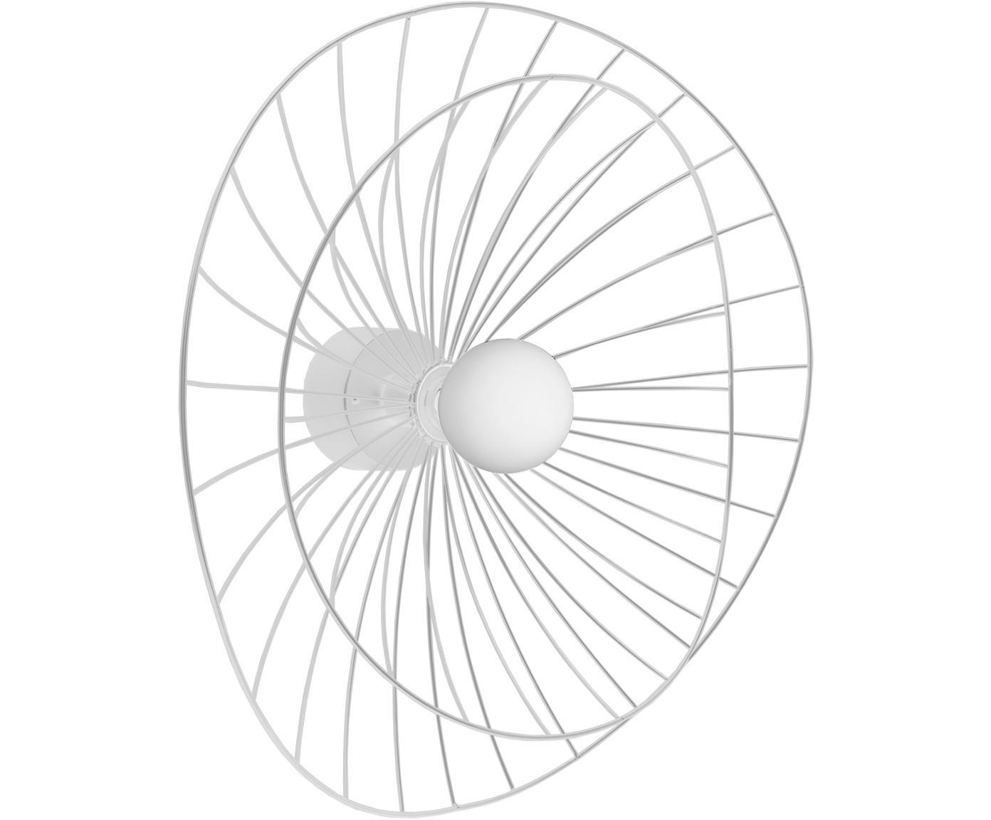 Design Wandleuchte Ray mit Stecker, Metall, Weiß, Ø 60 x H 20 cm