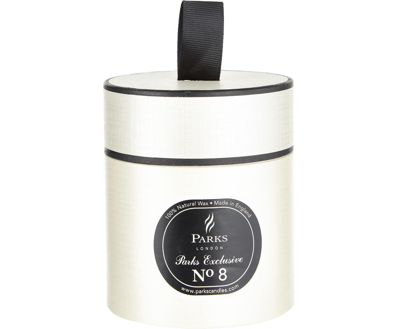 Geurkaars Exclusive No 8 (kampvuur), Houder: melkglas, Wit, zwart, Ø 8 x H 9 cm