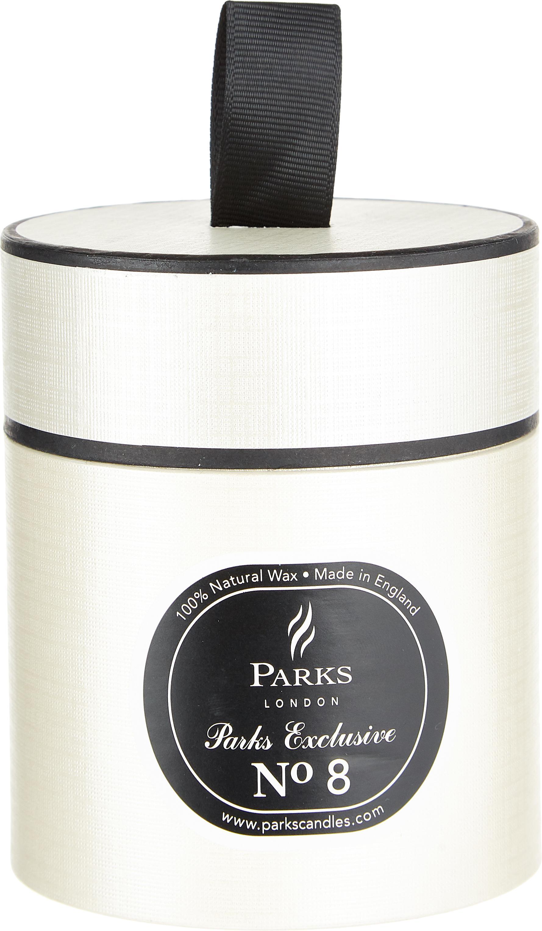 Vela perfumada Exclusive No 8 (fogata), Recipiente: vidrio lechoso, Blanco, negro, Ø 8 x Al 9 cm
