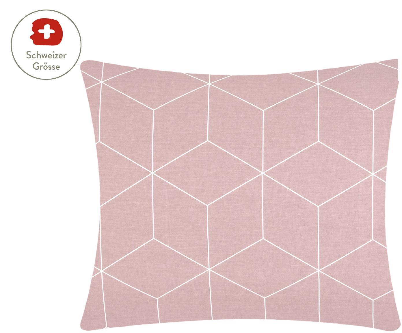 Baumwoll-Kissenbezug Lynn mit grafischem Muster, Webart: Renforcé Fadendichte 144 , Altrosa, Cremeweiss, 65 x 65 cm