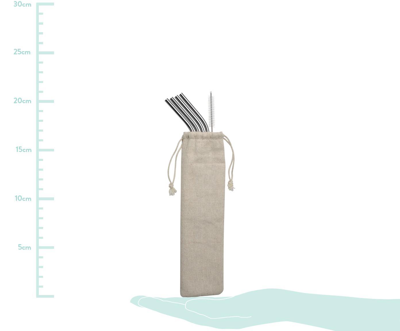 Strohhalm-Set Hosera, 6-tlg., Strohhalm: Edelstahl, Stahl, Beige, L 21 cm