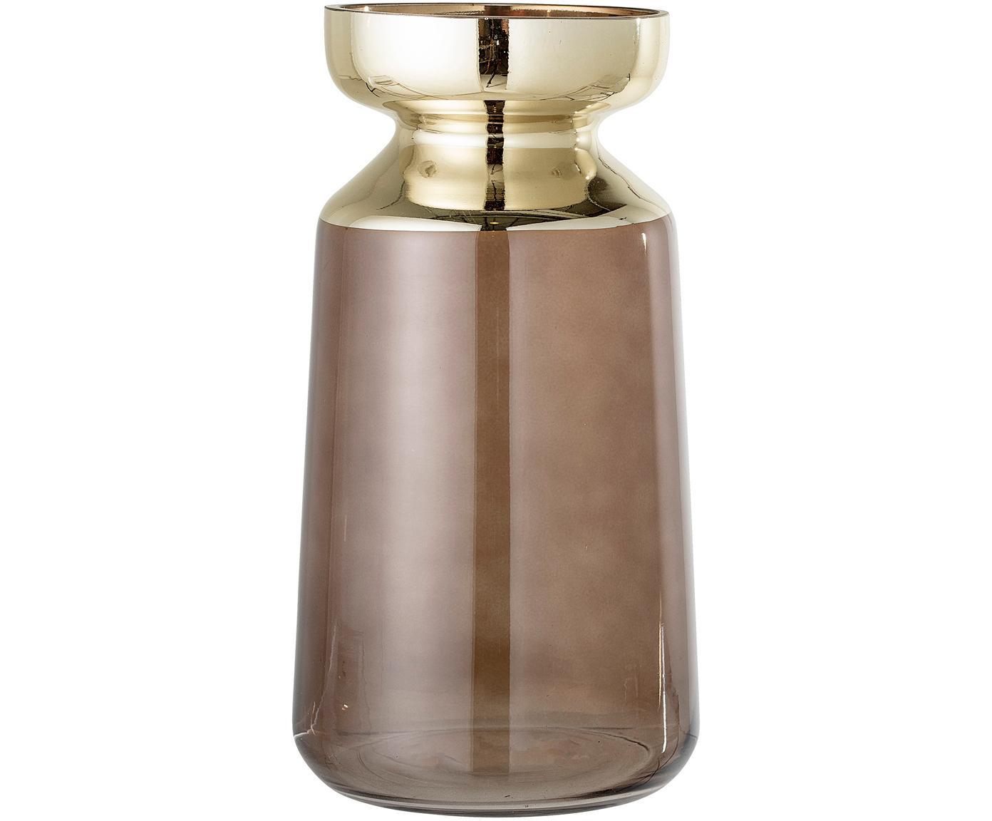 Große Deko-Vase Shine aus Glas, Glas, Braun, Goldfarben, Ø 16 x H 30 cm