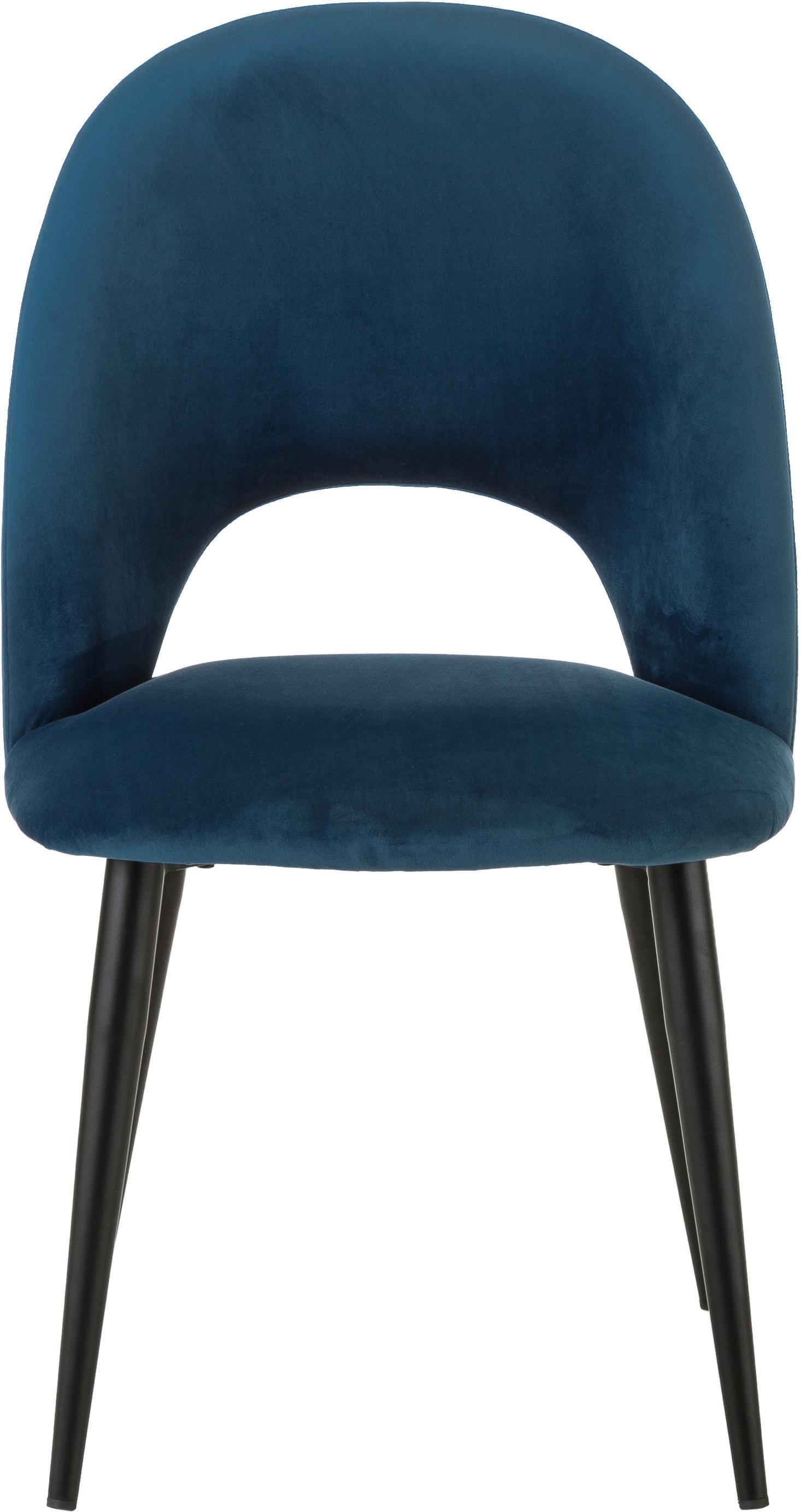 Sedia imbottita in velluto Rachel, Rivestimento: velluto (rivestimento in , Gambe: metallo verniciato a polv, Blu scuro, Larg. 53 x Prof. 57 cm