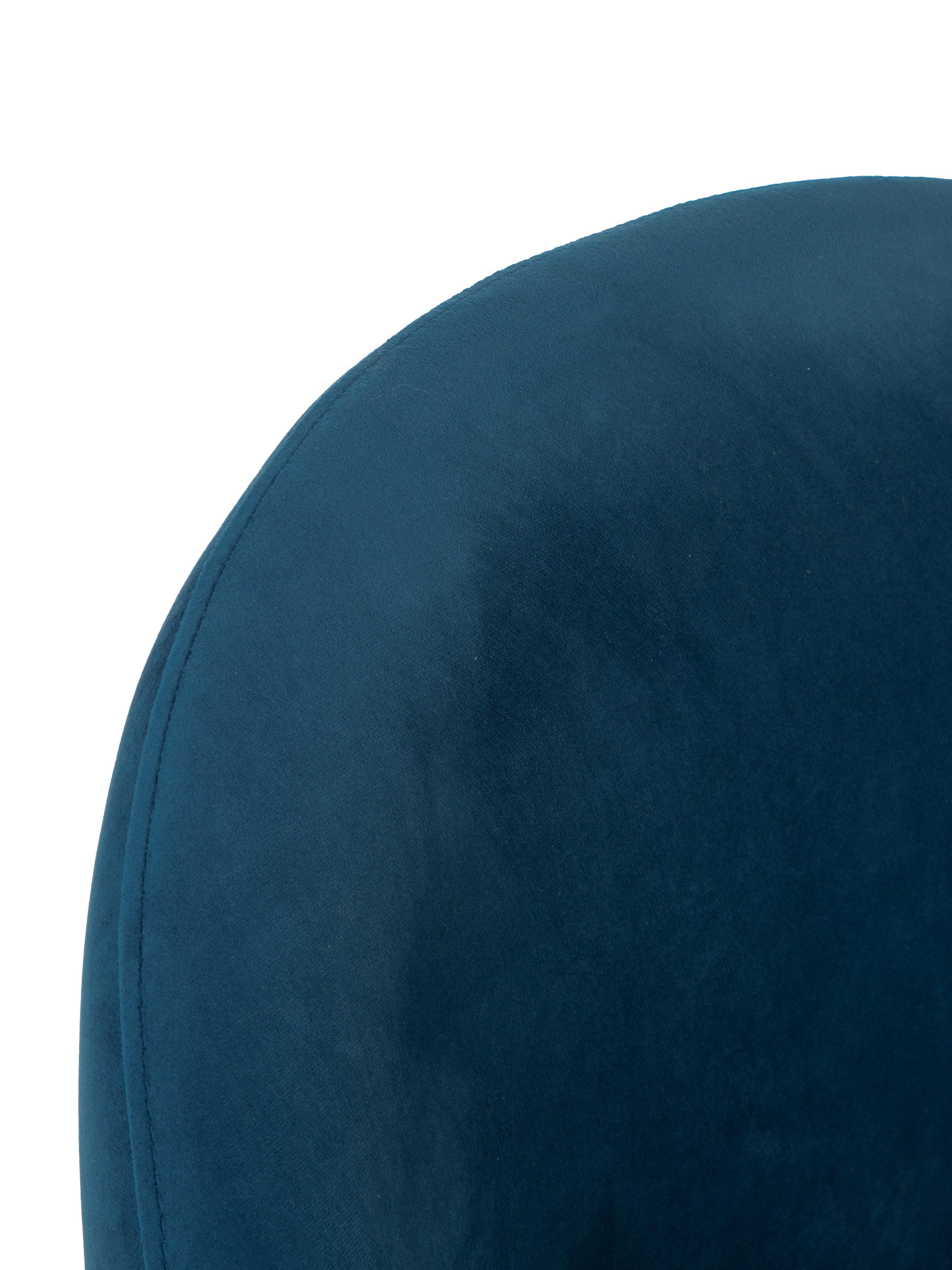 Samt-Polsterstuhl Rachel, Bezug: Samt (Hochwertiger Polyes, Beine: Metall, pulverbeschichtet, Samt Dunkelblau, B 53 x T 57 cm