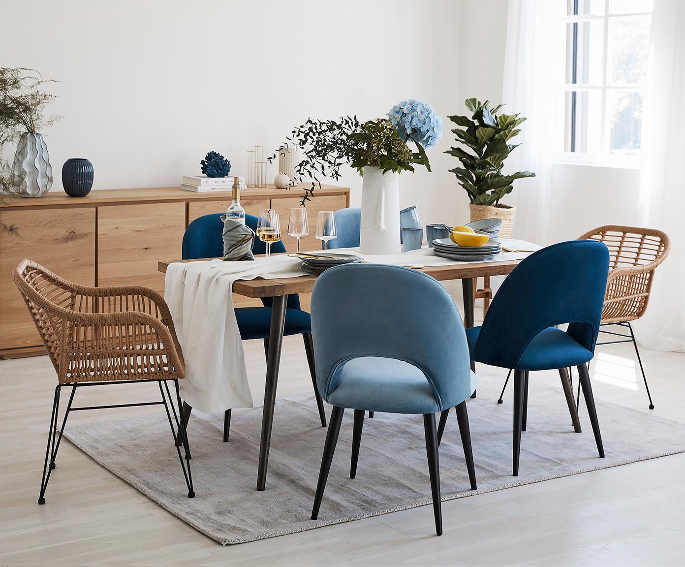 Fluwelen stoel Rachel, Bekleding: fluweel (hoogwaardige pol, Poten: gepoedercoat metaal, Donkerblauw, B 53 x D 57 cm